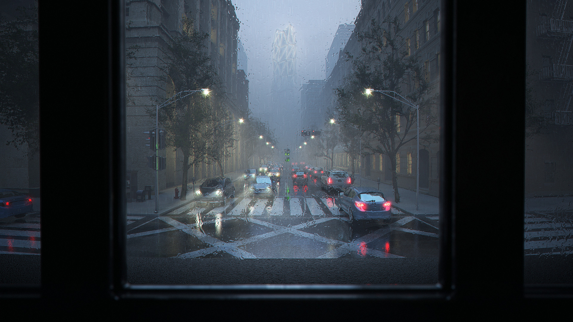 General 1920x1080 digital art street rain