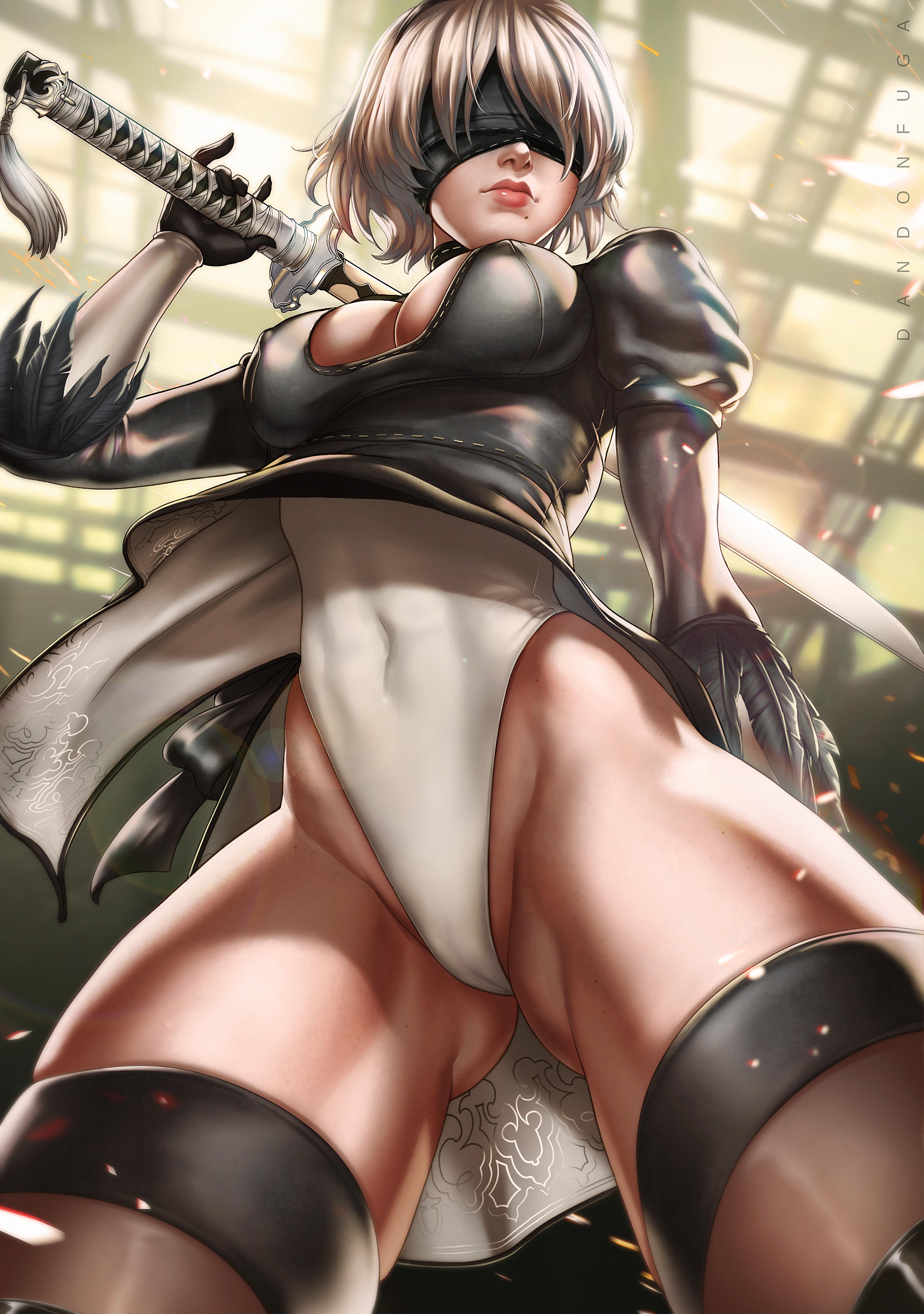 Anime 3441x4892 Dandonfuga cameltoe dress leotard NieR Nier: Automata thigh-highs 2B (Nier: Automata) sword cleavage nipple bulge blindfold
