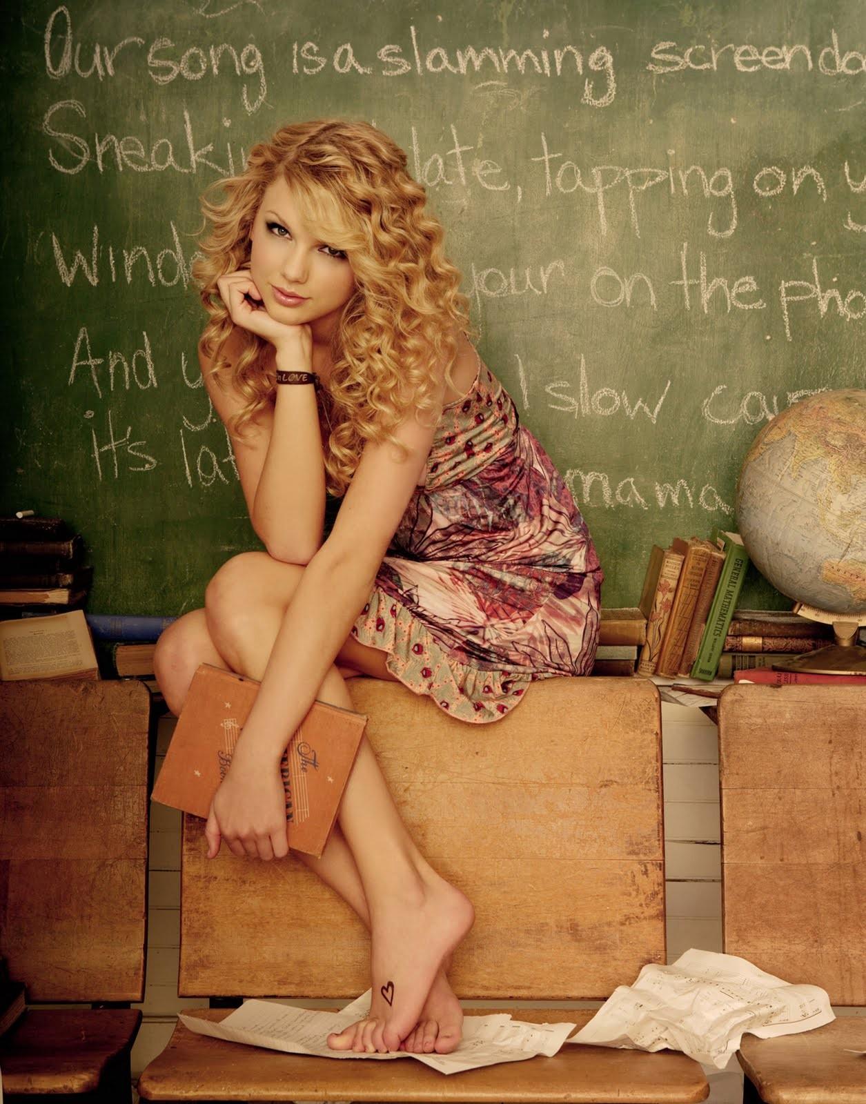 People 1255x1600 women blonde long hair looking at viewer singer Taylor Swift musician barefoot curly hair blackboard books globe chalk sitting bare shoulders text school