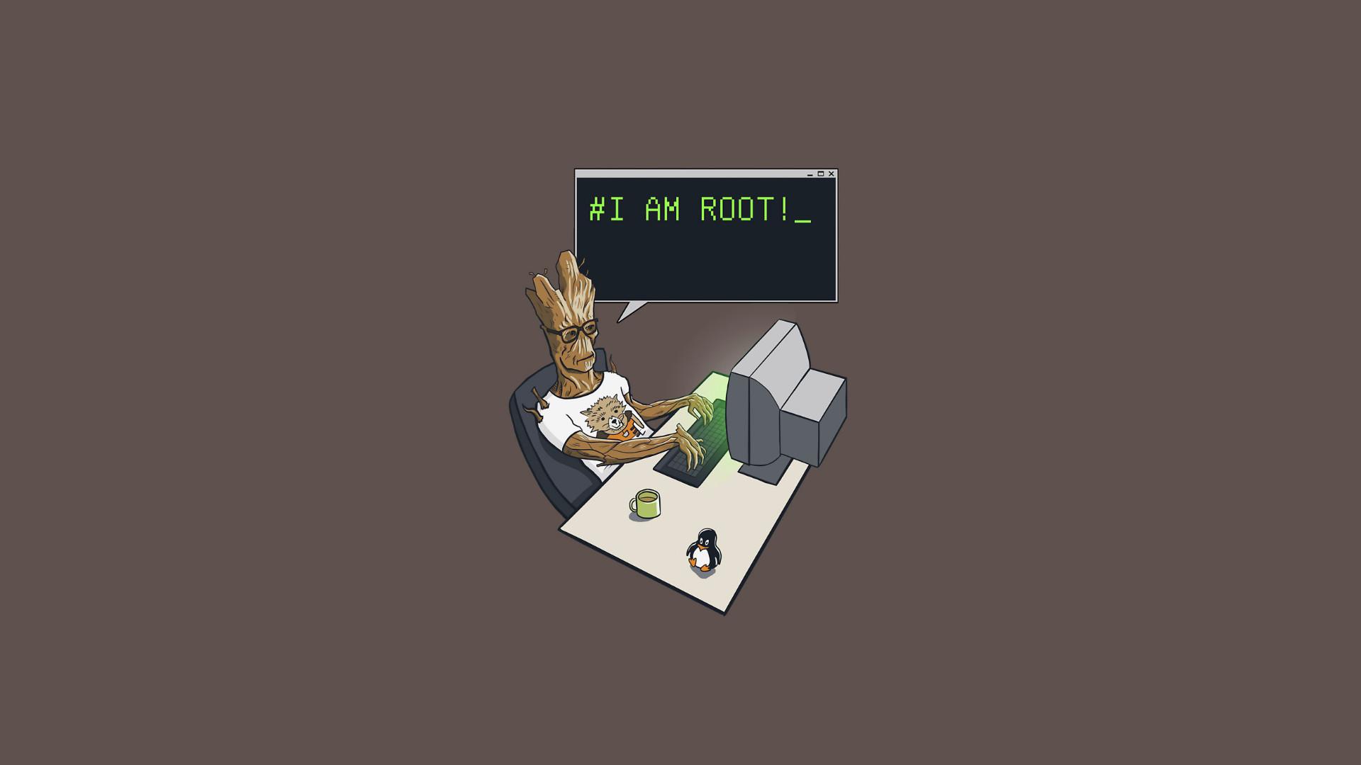 General 1920x1080 Groot minimalism simple background Linux geek humor computer beige beige background