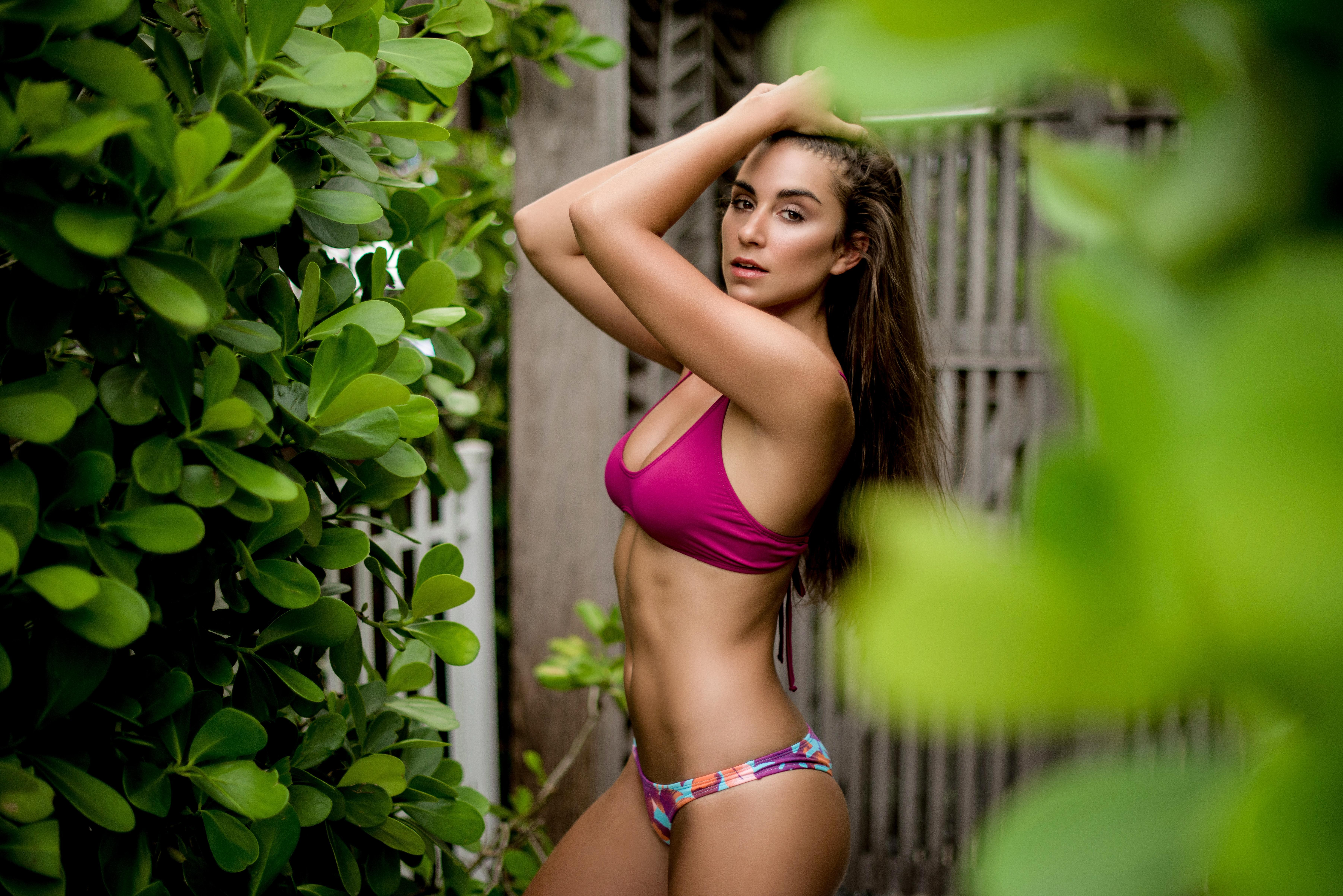 People 7208x4811 Dani Dikeman women tanned portrait swimwear belly women outdoors hands on head