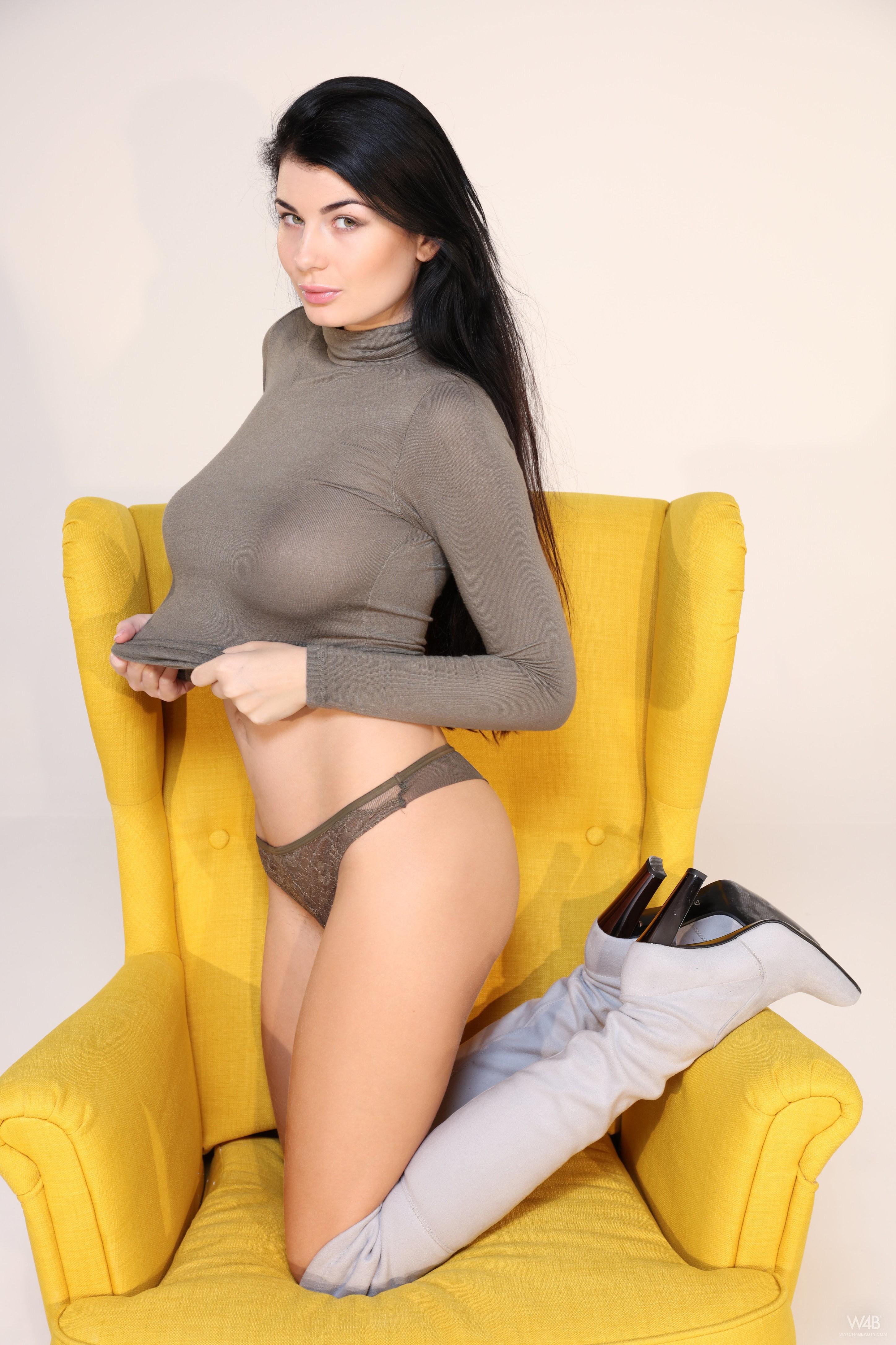 People 2896x4344 Lucy Li model women brunette Watch4Beauty pornstar lingerie boots knee-high boots see-through clothing boobs big boobs natural boobs no bra
