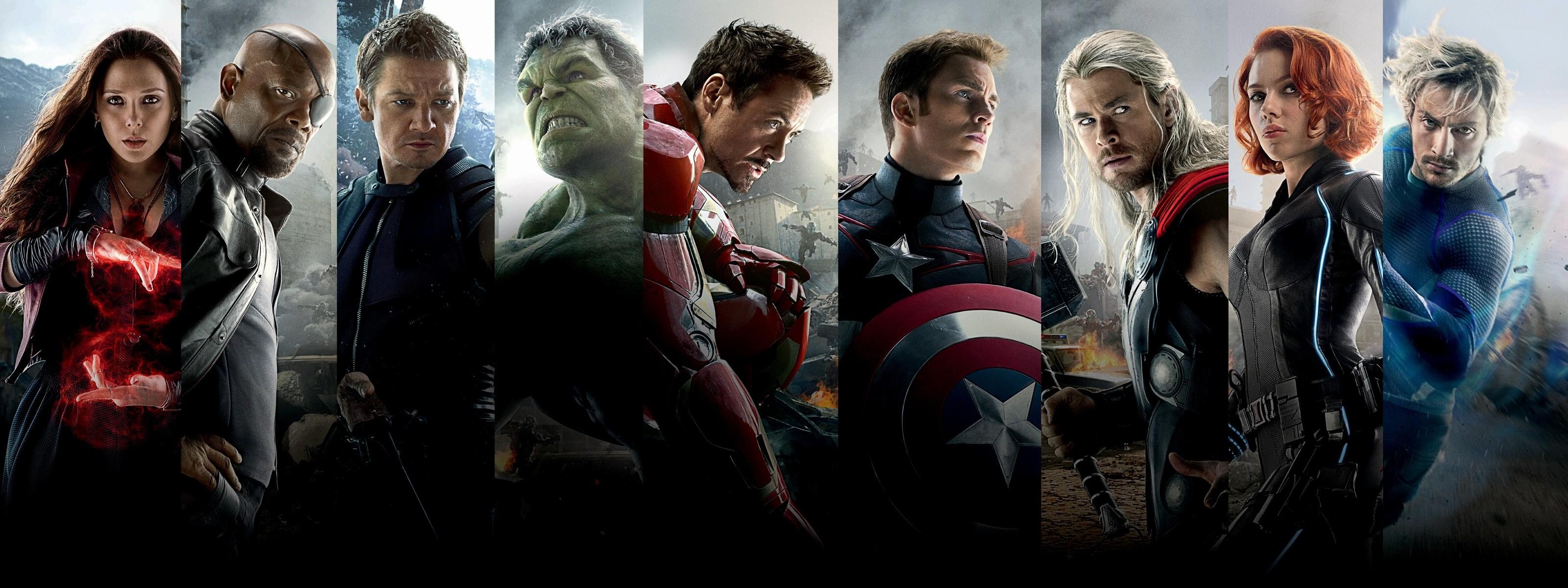 General 3200x1200 The Avengers Iron Man Hulk Captain America Nick Fury Thor