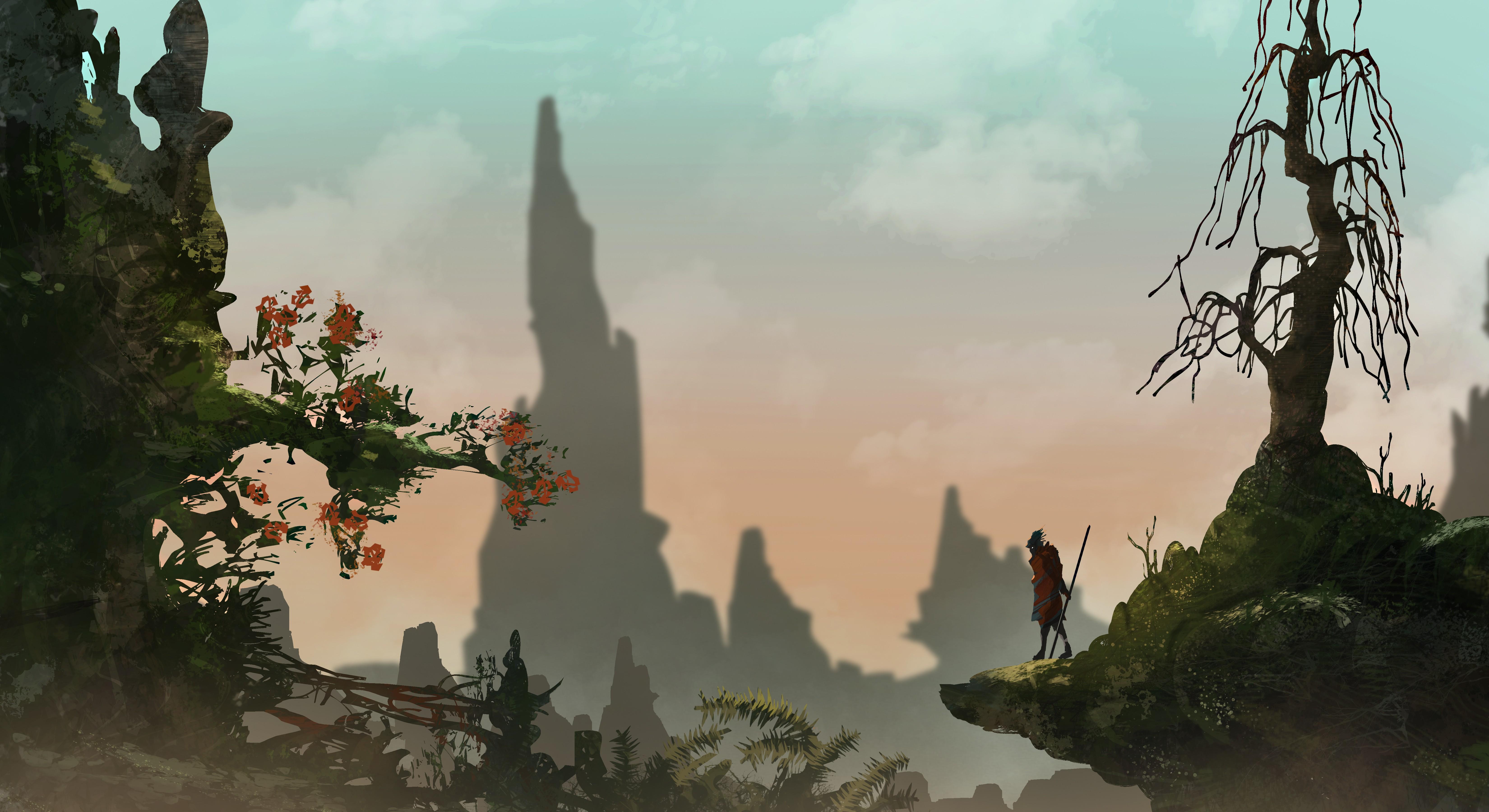 General 6600x3600 fantasy art nature mist warrior spear loneliness hero trees DeviantArt artwork digital art