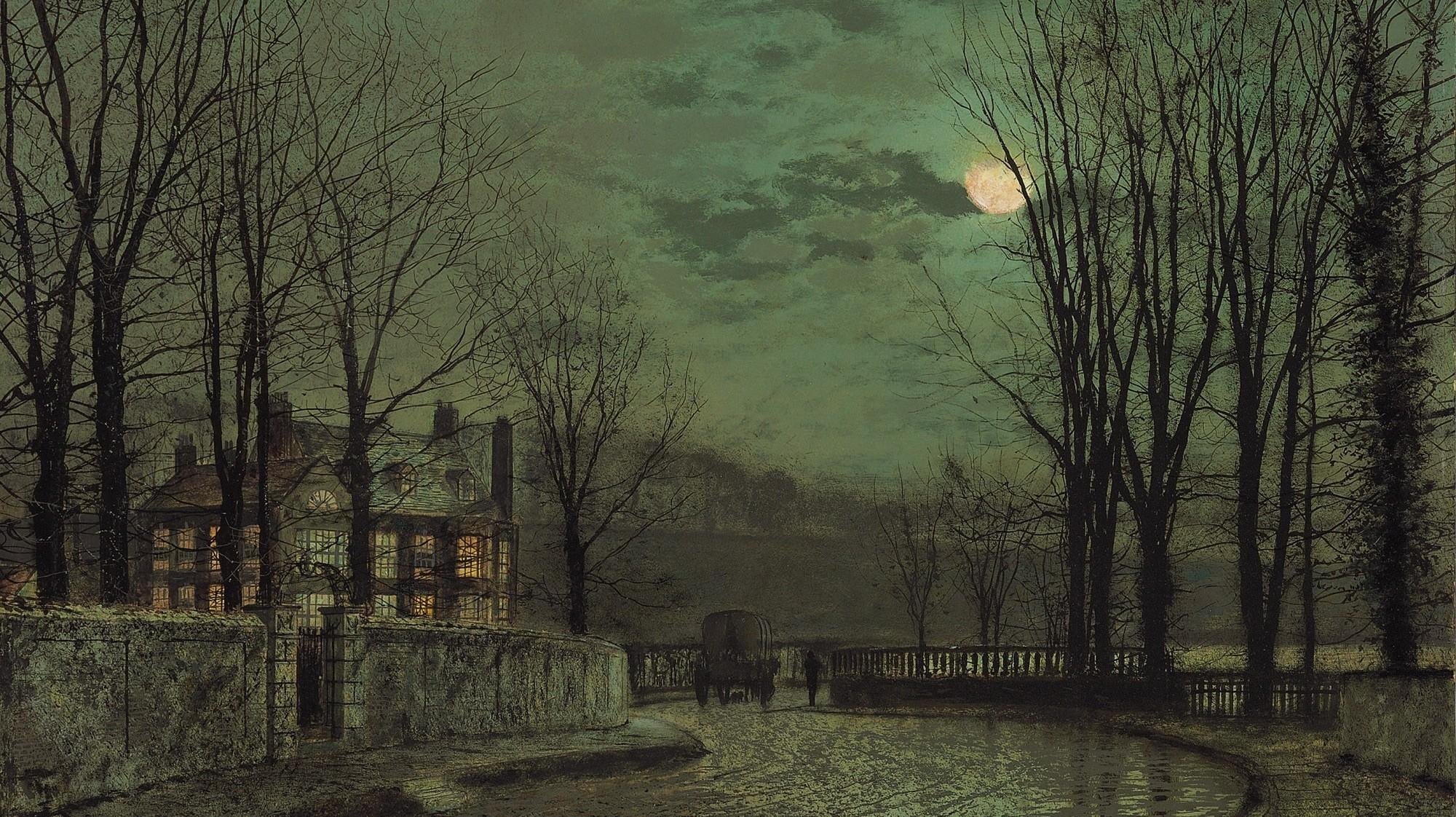 General 2000x1122 John Atkinson Grimshaw classic art Moon night painting artwork