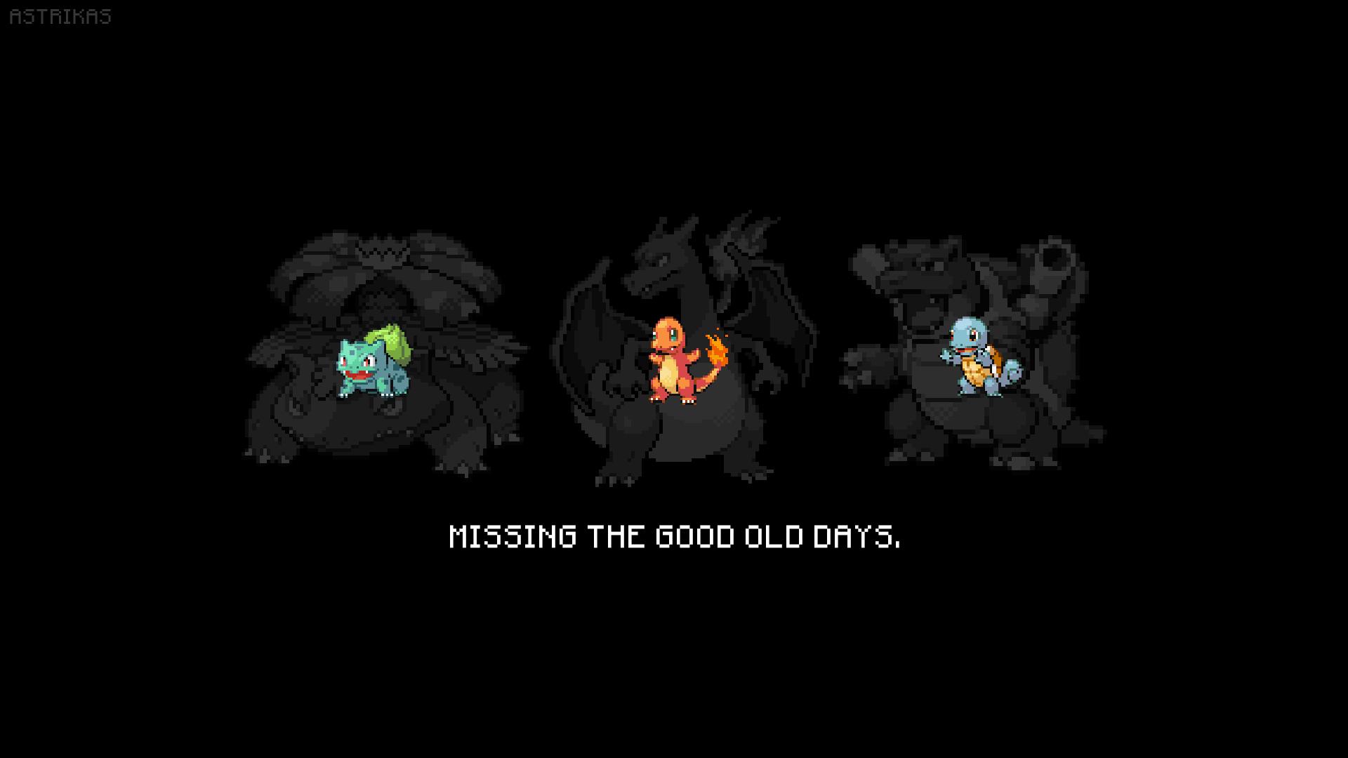 General 1920x1080 Pokémon Charmander Charizard Blastoise fan art Bulbasaur Venusaur Squirtle pixel art retro games pokemon third generation pixelated digital art video games black background Pokemon First Generation