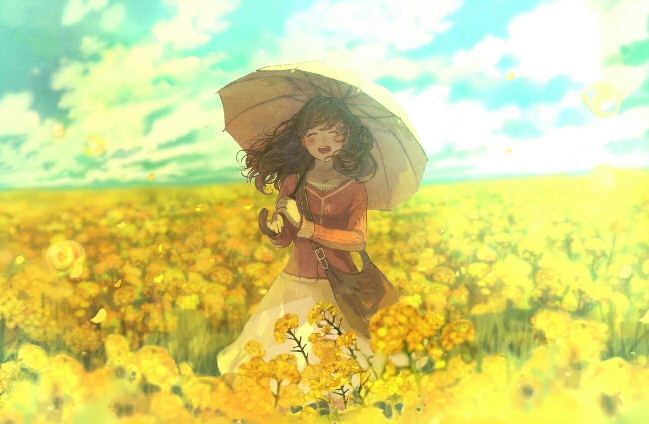 Anime 1300x850 anime Pixiv Fantasia Cure Girl flowers