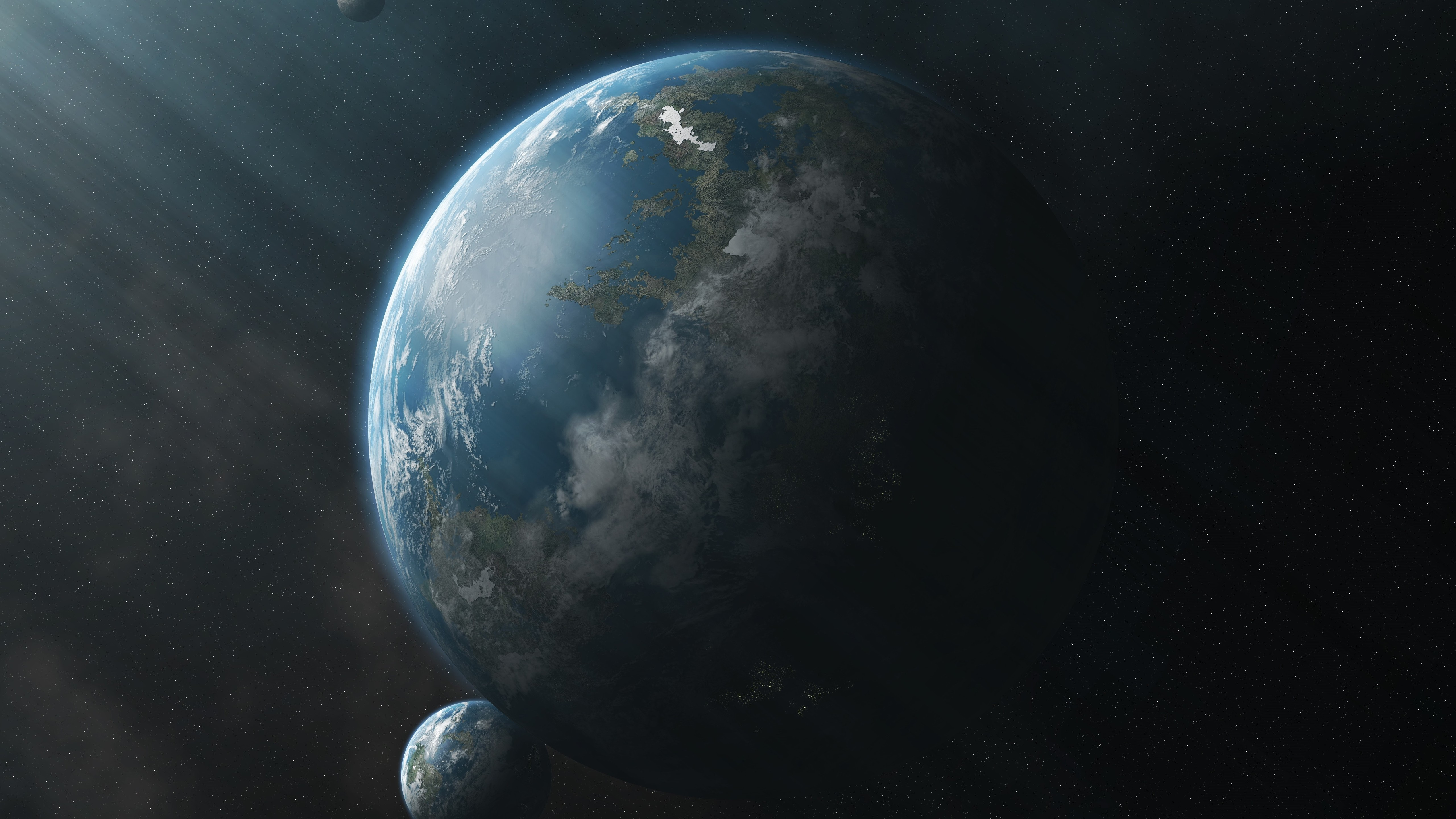General 5120x2880 space planet sun rays render space art digital art Yavin (Star Wars)