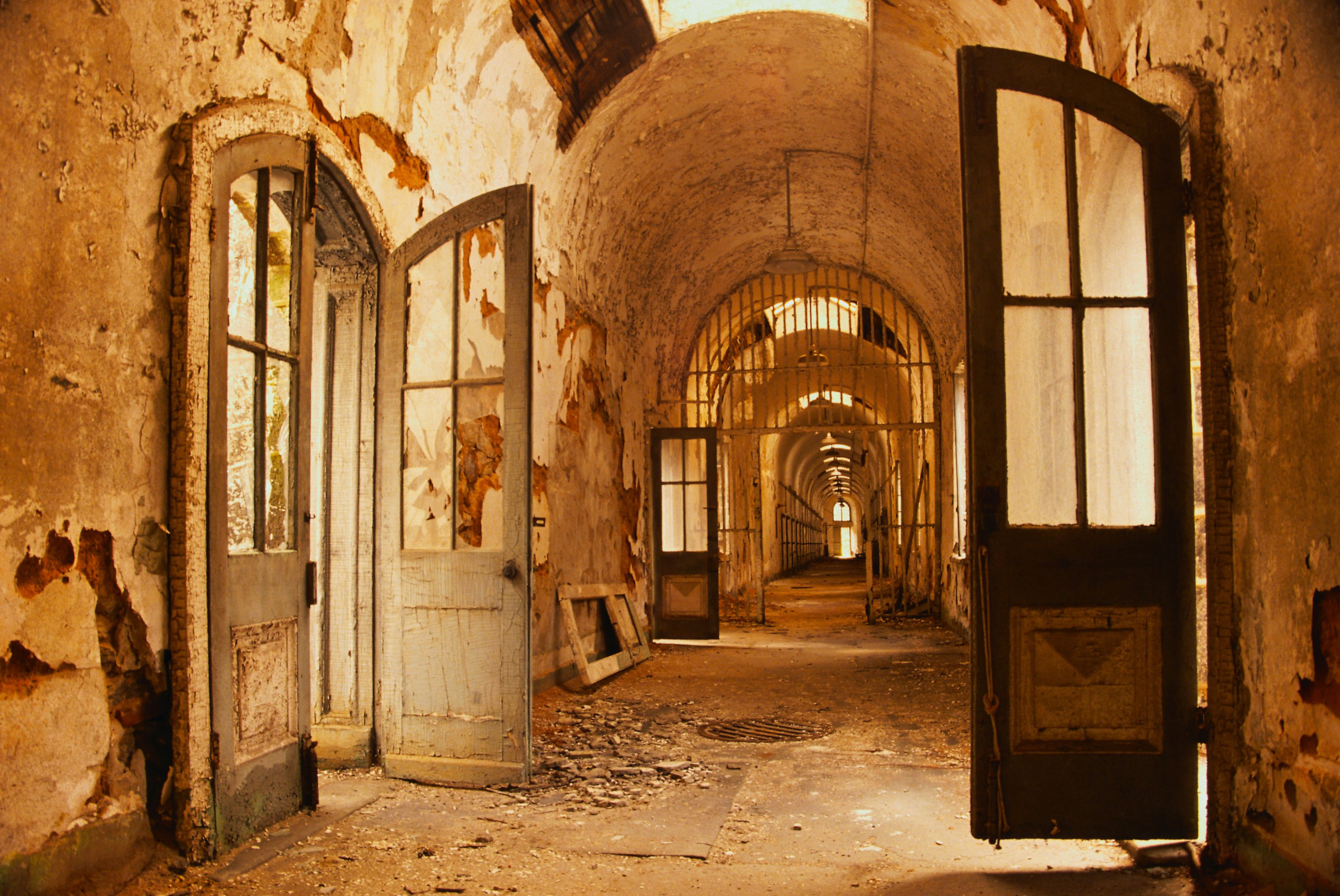 General 3000x2006 abandoned hospital prisons apocalyptic asylum interior hallway brown arch door