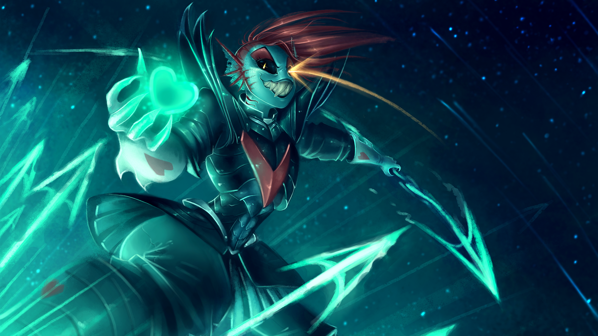 General 1920x1080 Undyne Undyne Undertale redhead spear heart armor weapon teeth blue skin turquoise cyan