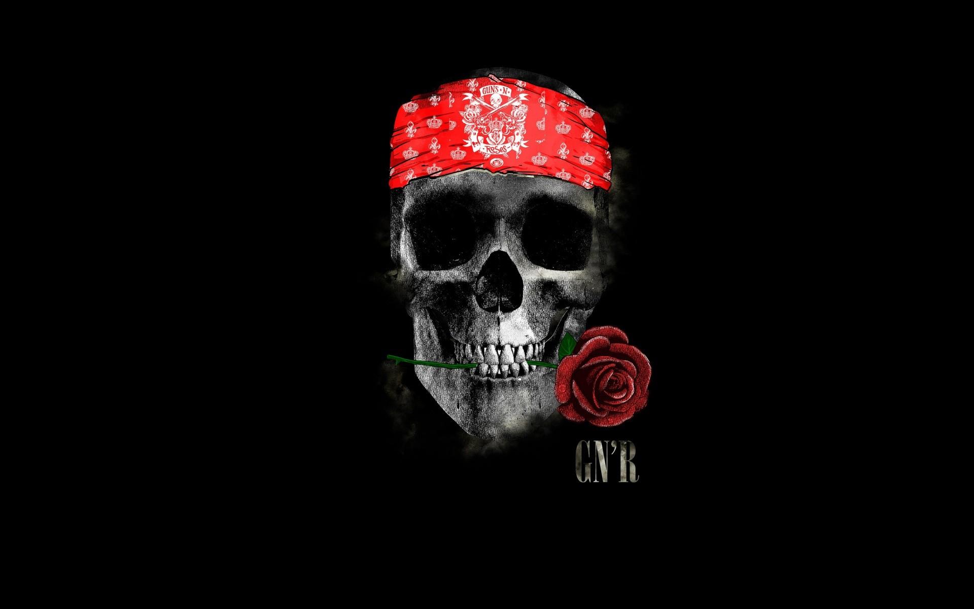 General 1920x1200 skull rose minimalism Guns N' Roses headband rock and roll