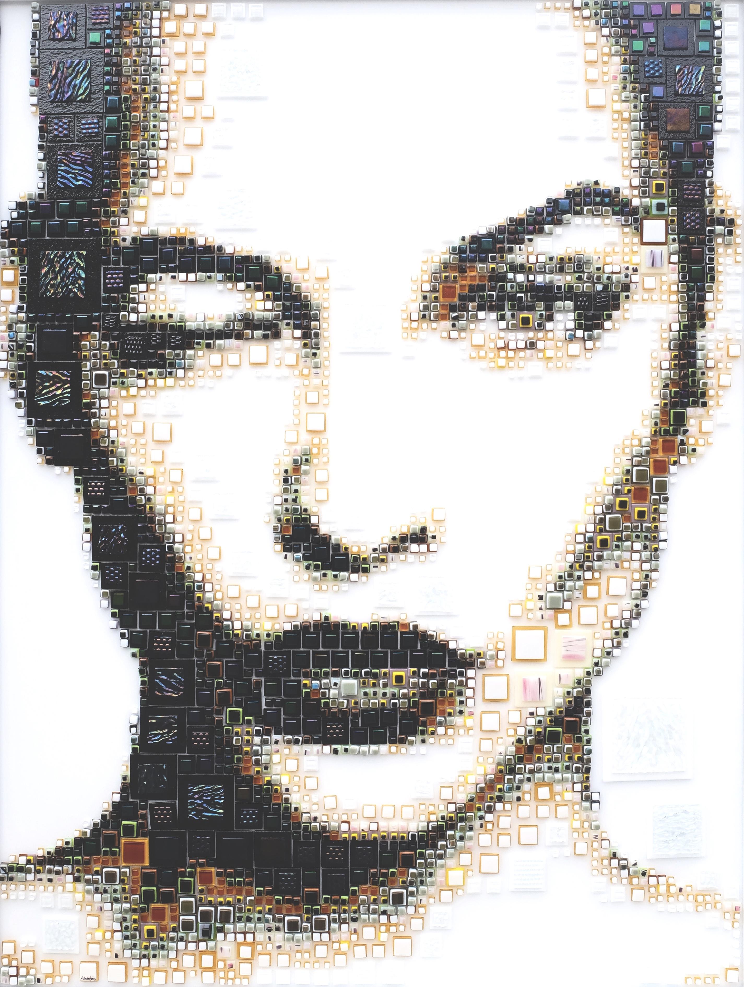General 2850x3782 women artwork Isabelle Scheltjens mosaic face portrait display square glass 3D white background black lipstick portrait wink winking