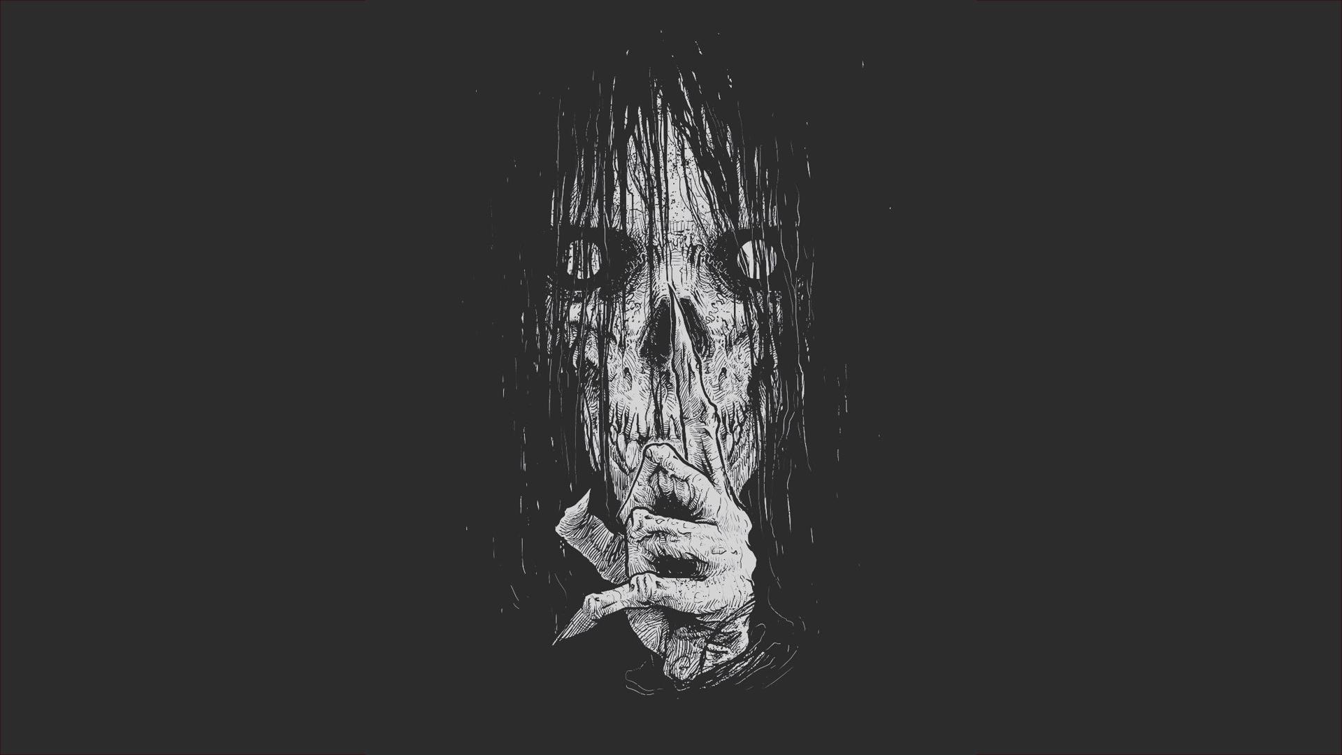 General 1920x1080 digital art artwork simple background dark skull fingers creepy scary face