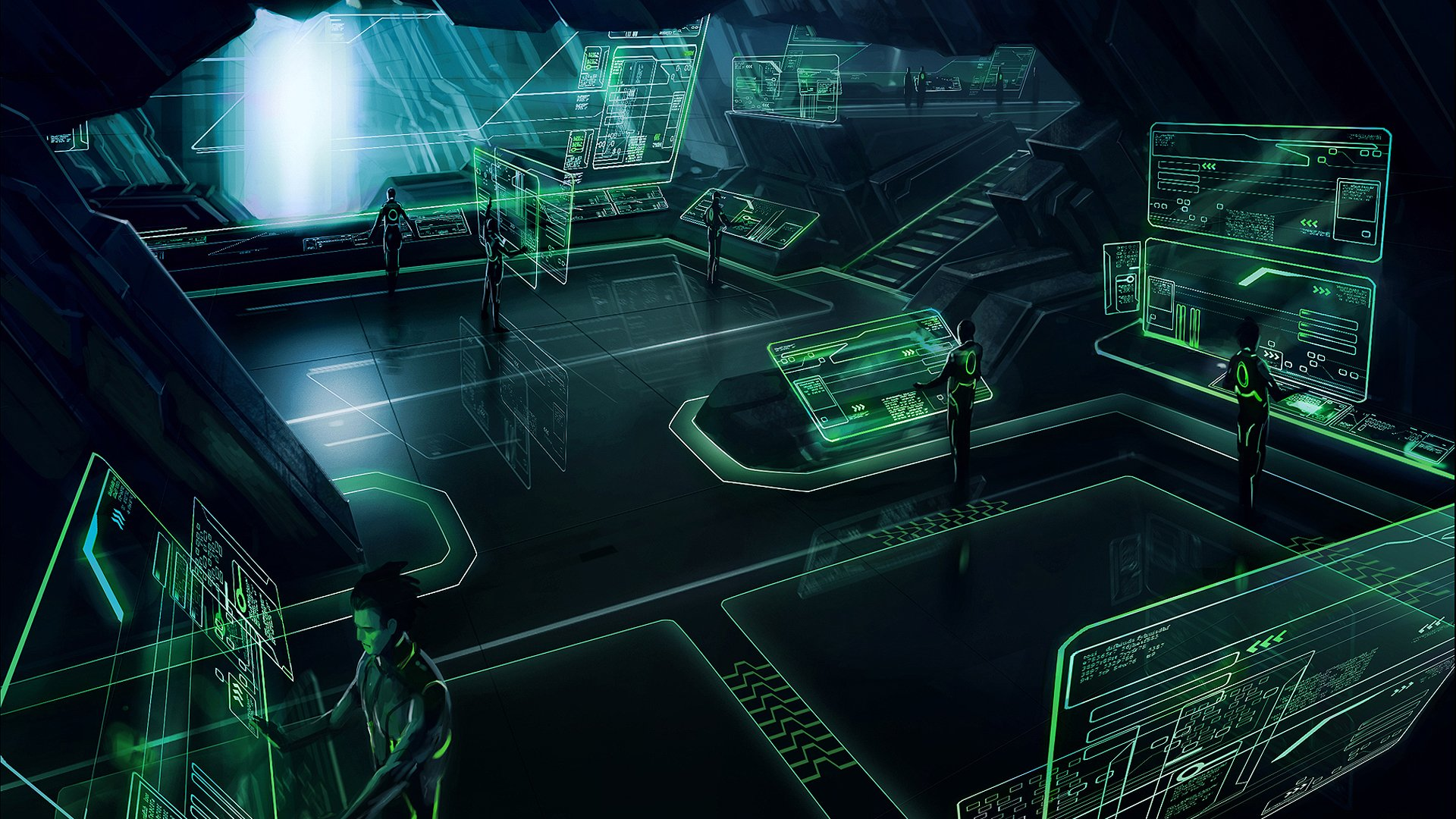General 1920x1080 Tron Tron: Legacy green dark digital art