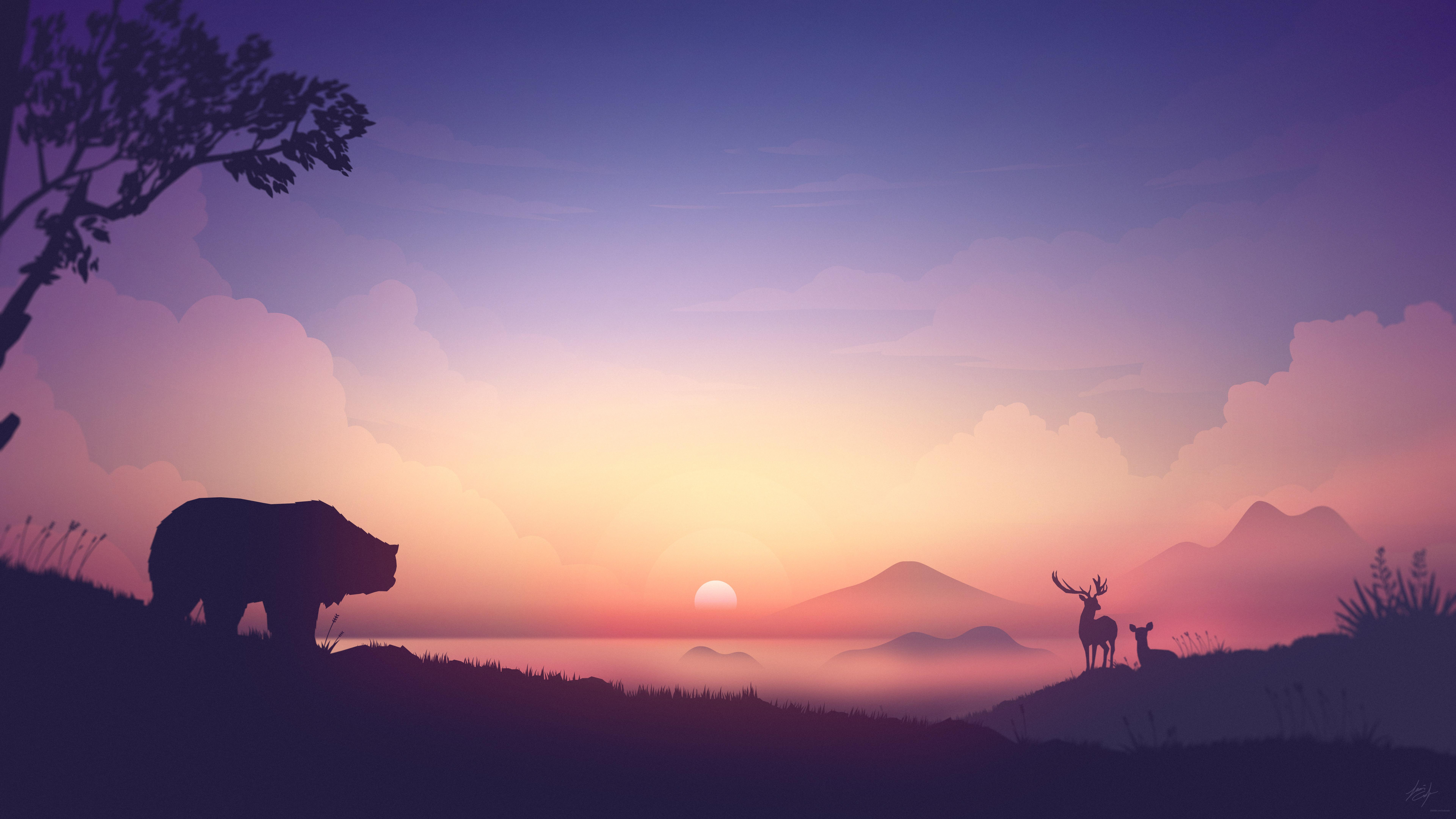 General 7680x4320 artwork bears sunrise nature elk deer mountains silhouette pink mist trees Louis Coyle