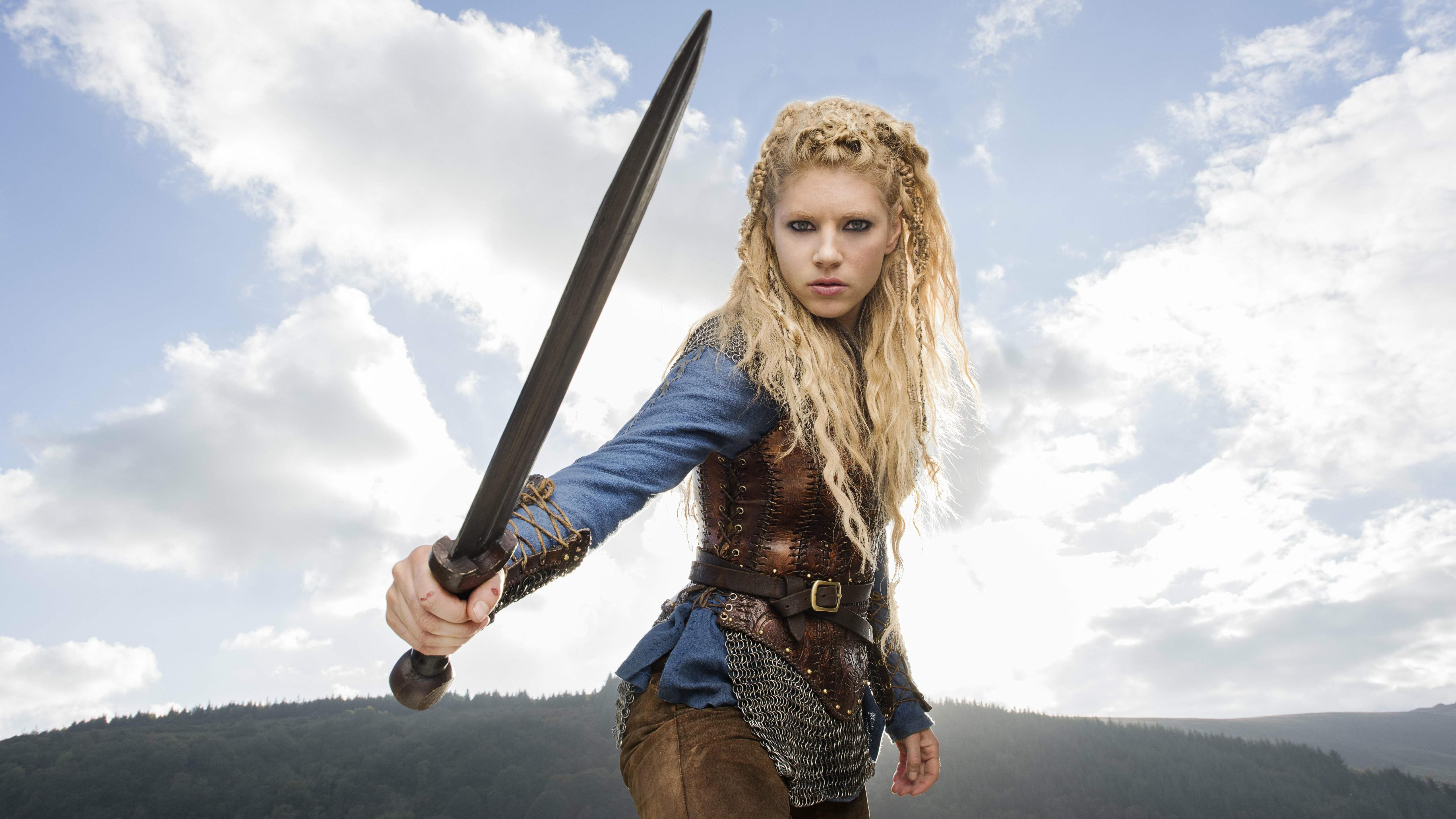 People 5120x2880 Katheryn Winnick Vikings Lagertha Lothbrok Promos poster women actress warrior girls