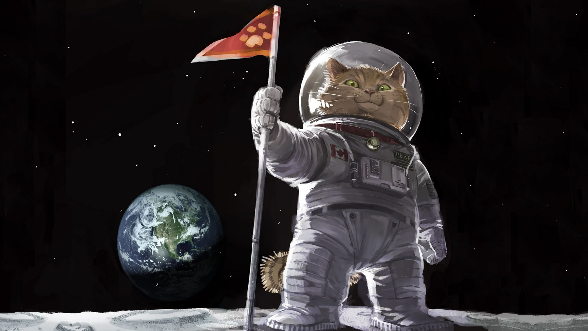 General 1920x1080 cats spacesuit flag Earth Moon digital art space