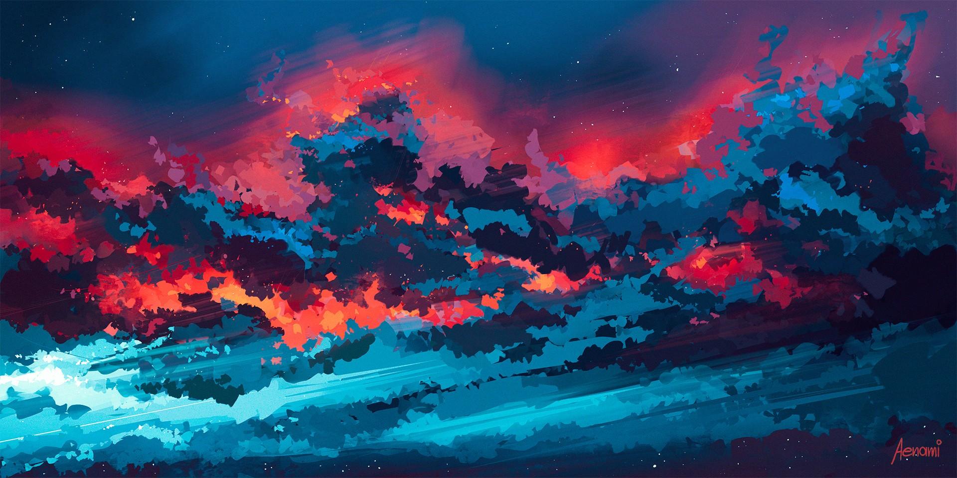 General 1920x960 artwork Aenami dark sky clouds nature sunlight ArtStation