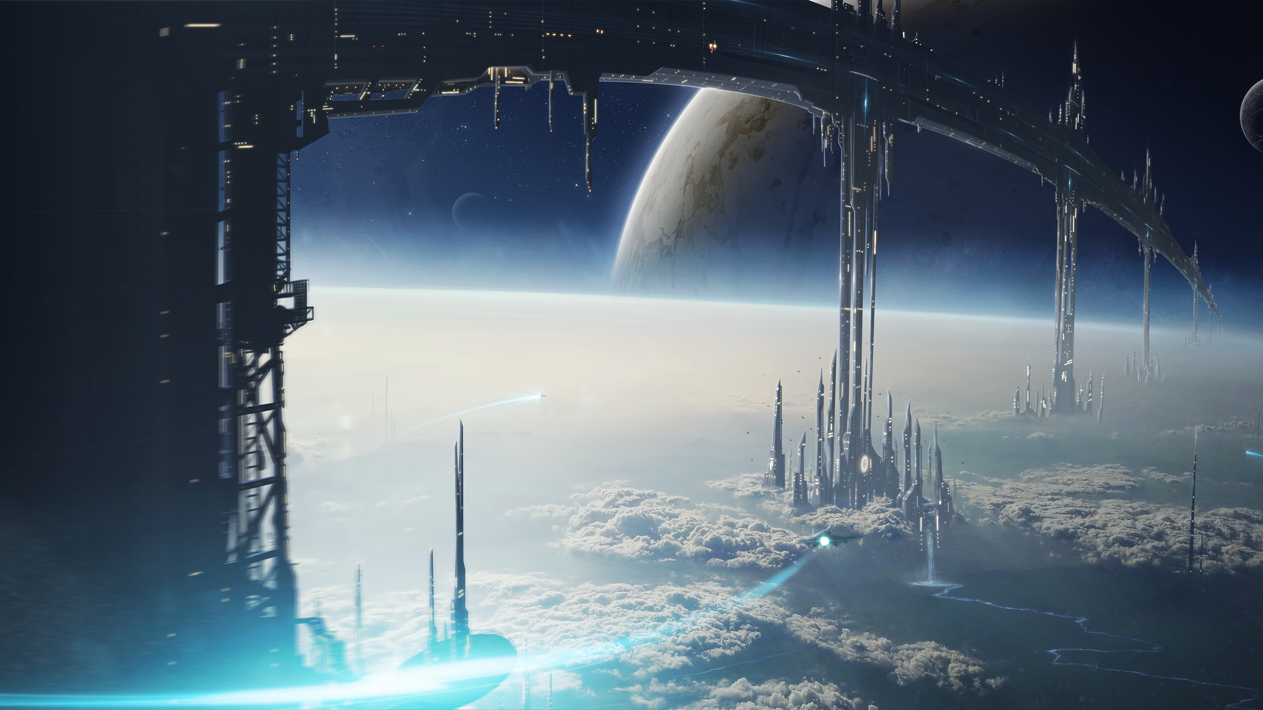 General 2560x1440 science fiction space station space planet spaceship