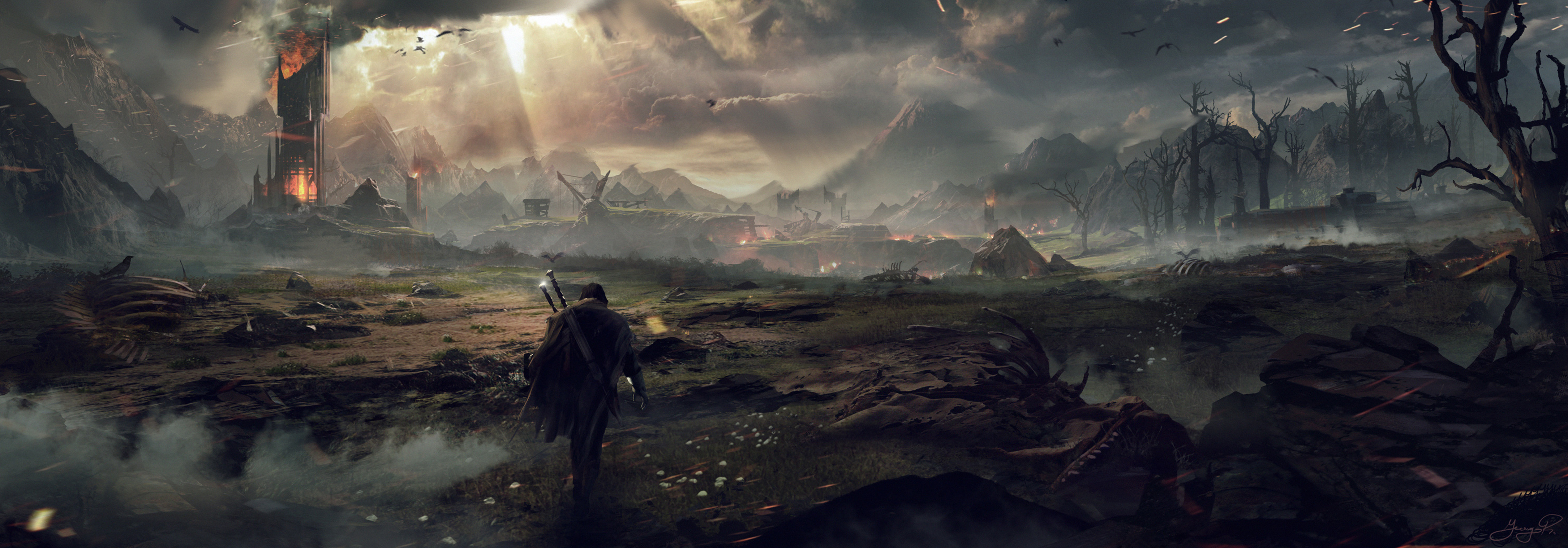 General 7475x2615 Middle-earth: Shadow of Mordor eagle video games fire skeleton sword concept art The Lord of the Rings drawing dystopian fantasy art digital art artwork mountains clouds sky dead trees warrior trees forest sun rays birds alone mist video game art 2014 (Year)