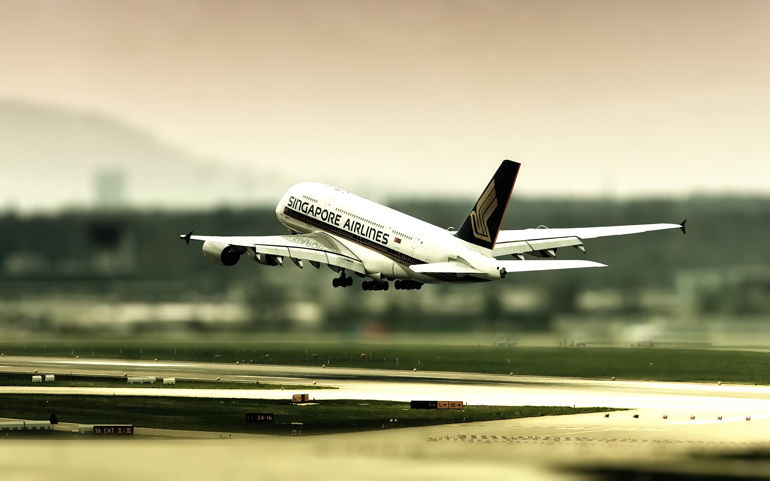 General 2560x1600 airplane tilt shift passenger aircraft A380 Airbus aircraft vehicle Singapore photo manipulation