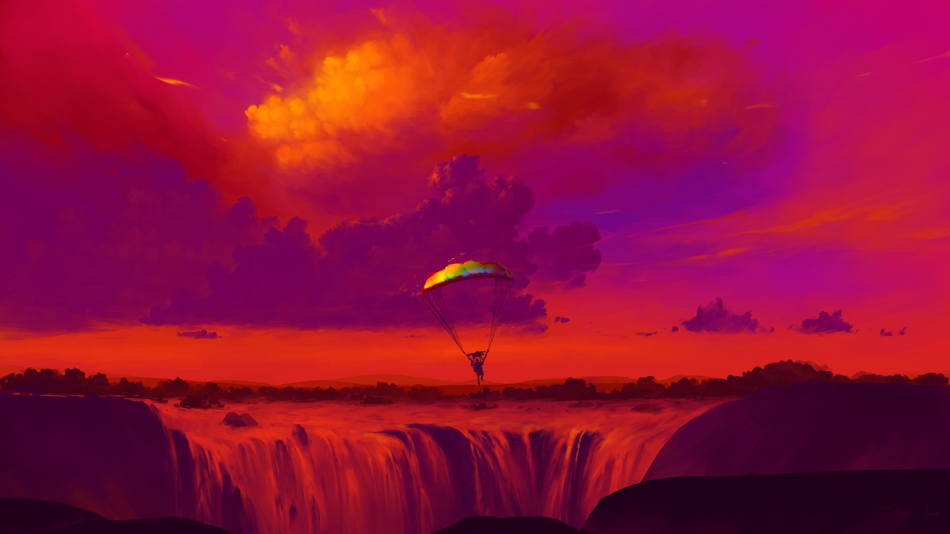 General 1920x1080 BisBiswas digital art parachutes waterfall nature clouds