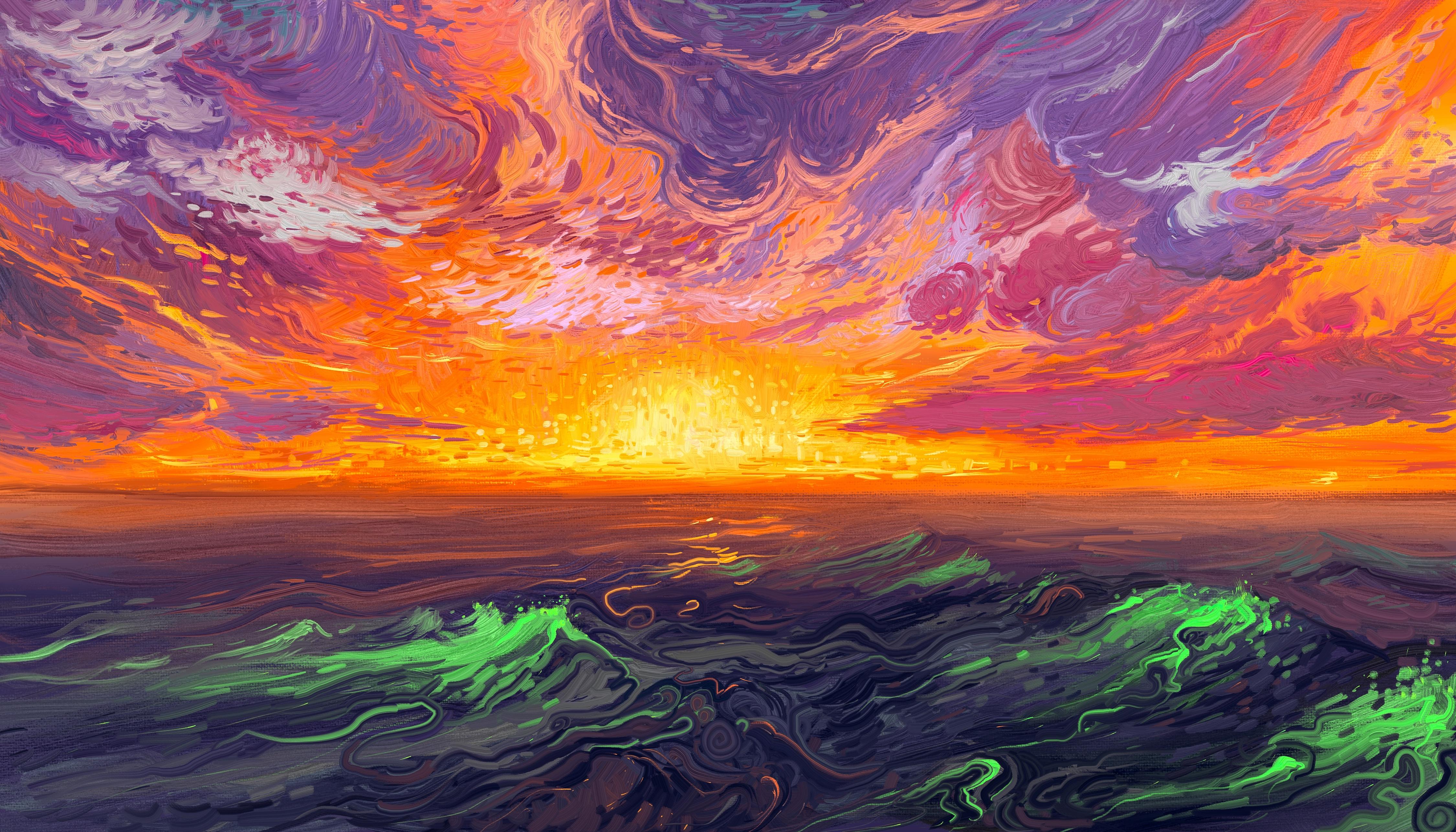 General 4500x2571 Hangmoon digital art painting sunrise waves sea