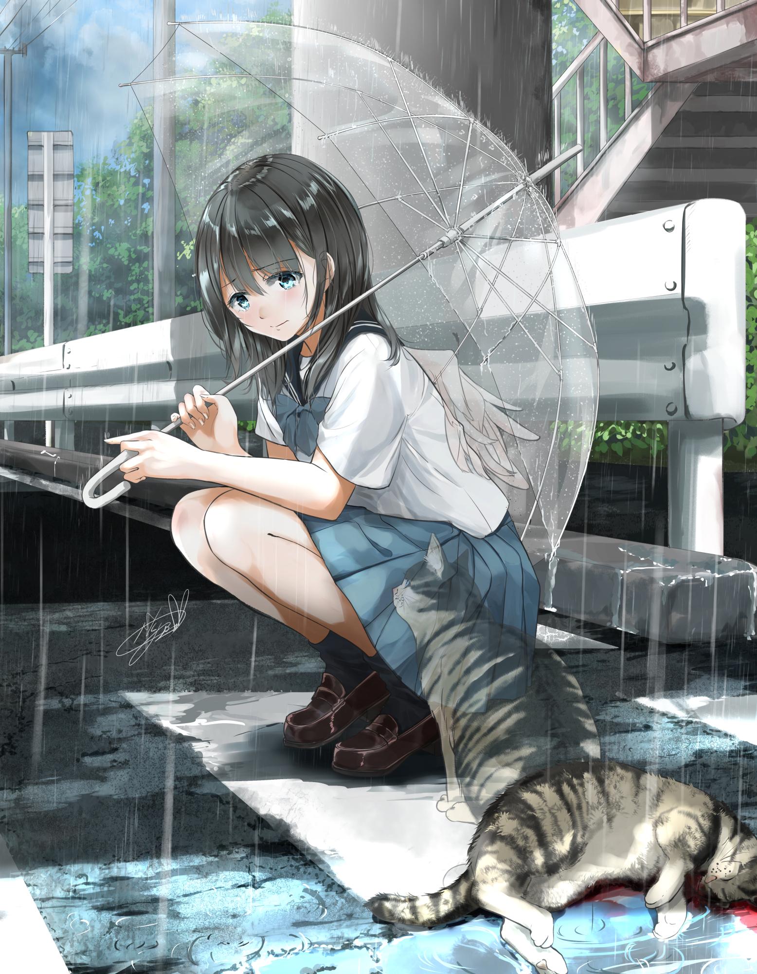 Anime 1556x2000 sad cats angel ghost melancholic wings death rain umbrella school uniform squatting anime girls Soragane artwork