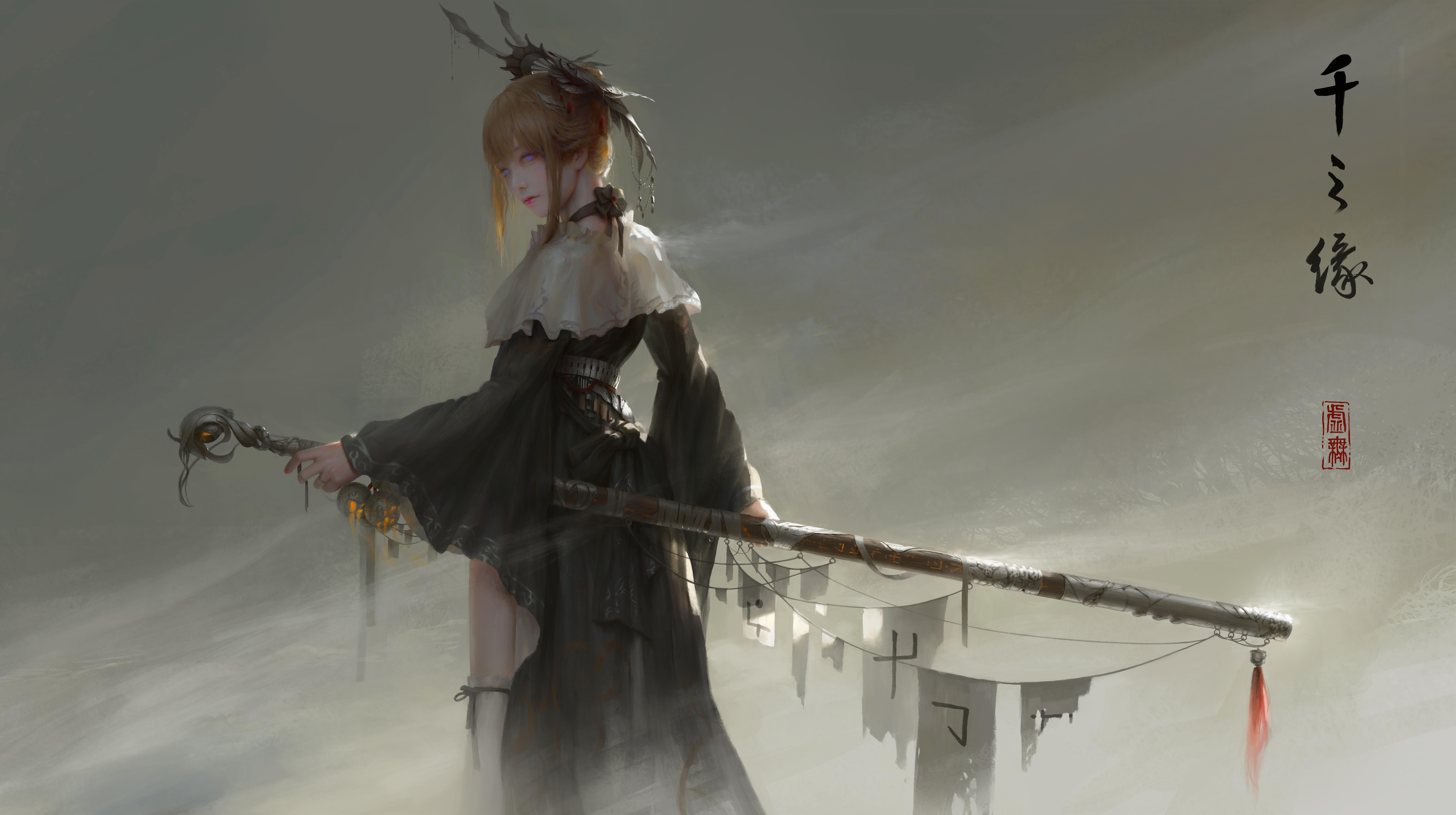 General 8504x4762 fantasy warrior women fantasy art Asian original characters void_0 sword