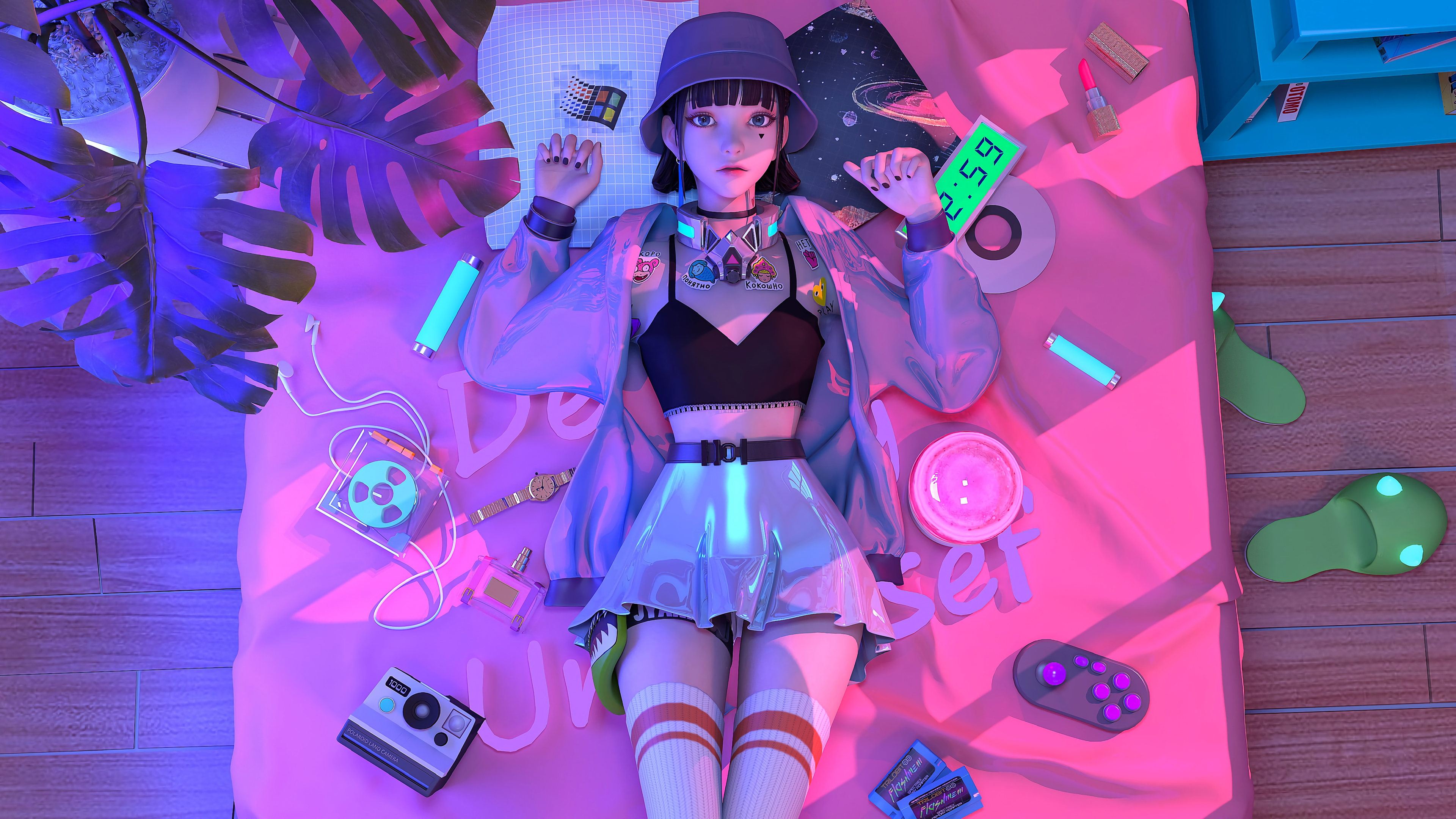 General 3840x2160 anime girls women lying on back looking up looking at viewer women indoors indoors hat women with hats Polaroid wristwatch dark hair anime interior room in bed windows logo
