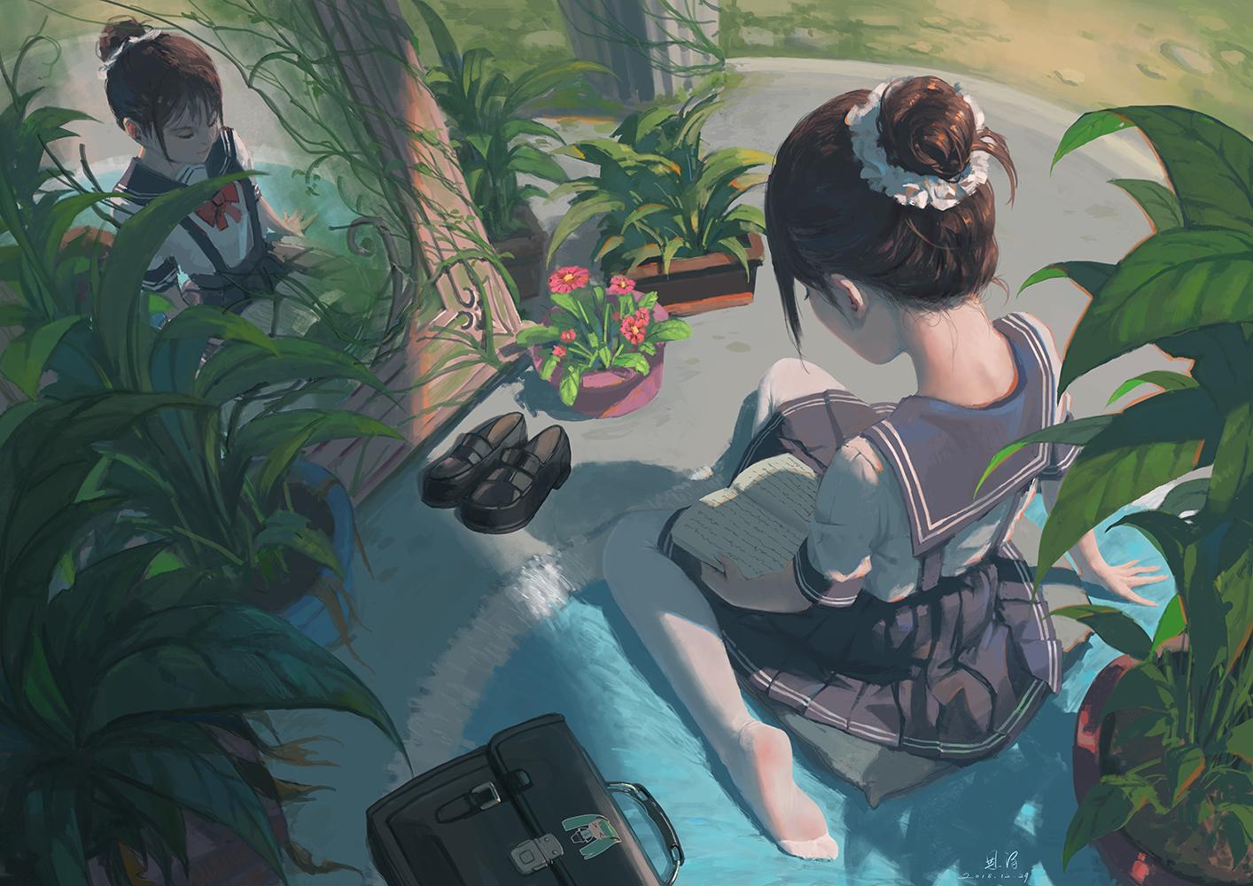 Anime 1414x1000 anime girls plants mirror school uniform boots brunette flowerpot reading sailor uniform