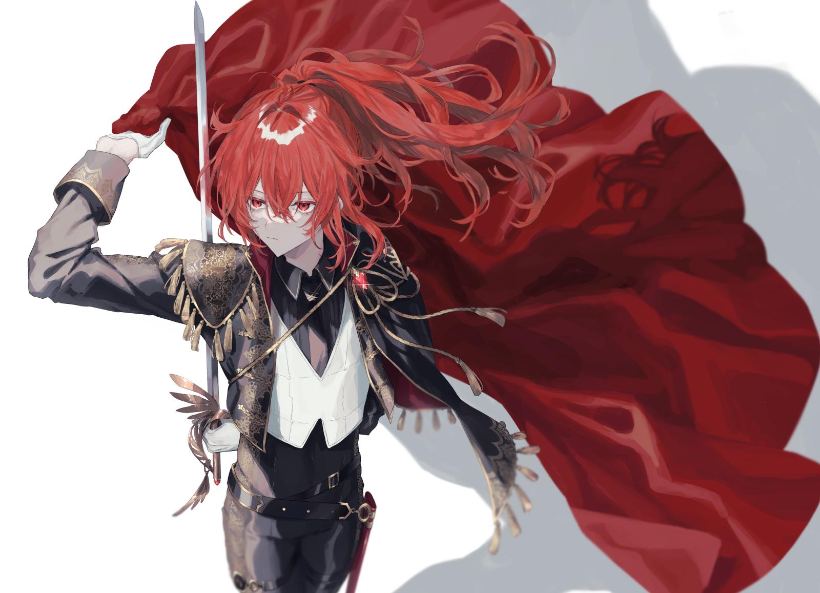 Anime 1600x1157 Genshin Impact Diluc (Genshin Impact) anime Pixiv redhead red eyes