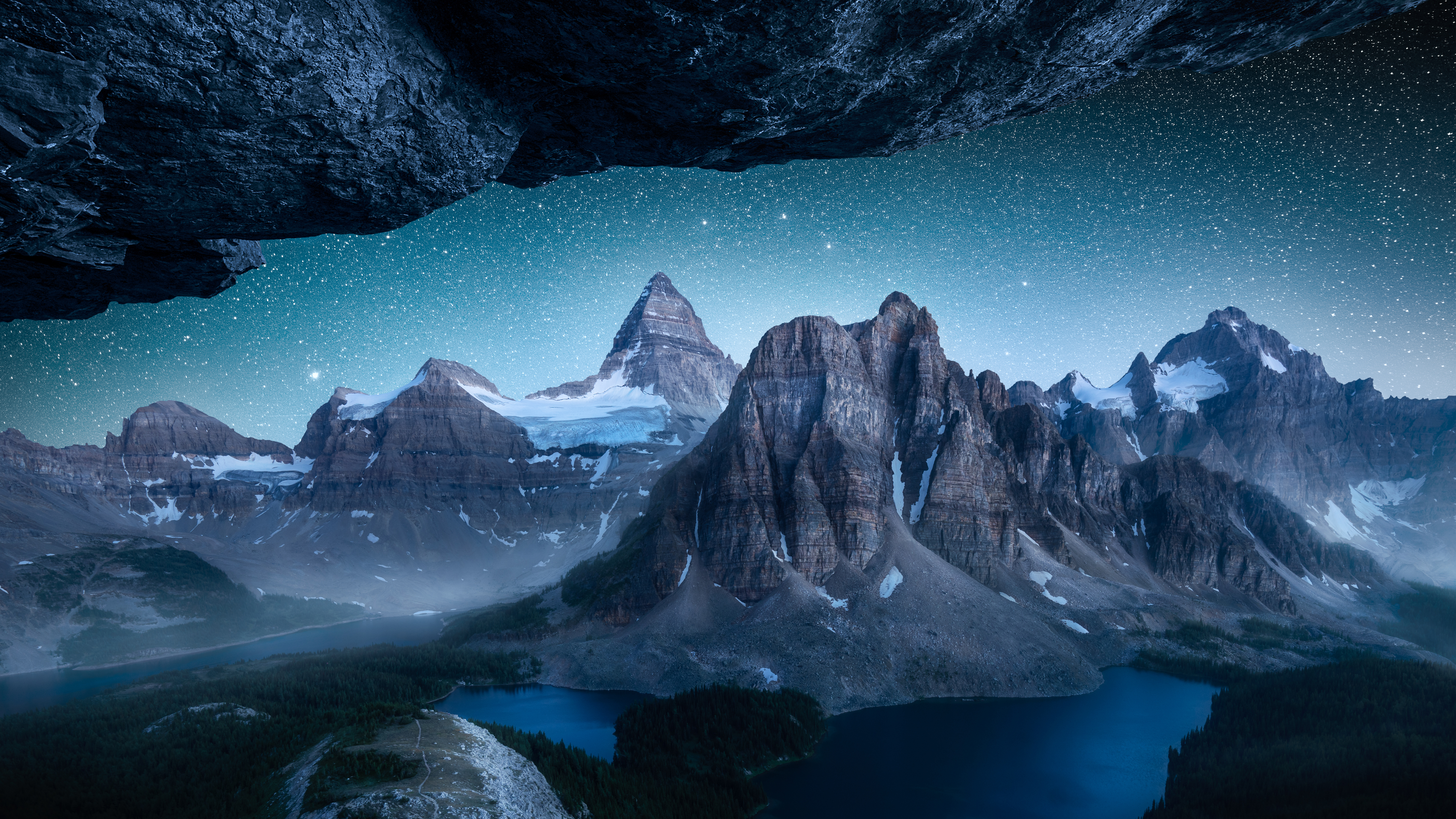 General 5120x2880 mountains night stars snow rocks landscape lake river forest trees Mount Assiniboine Canada Cath Simard