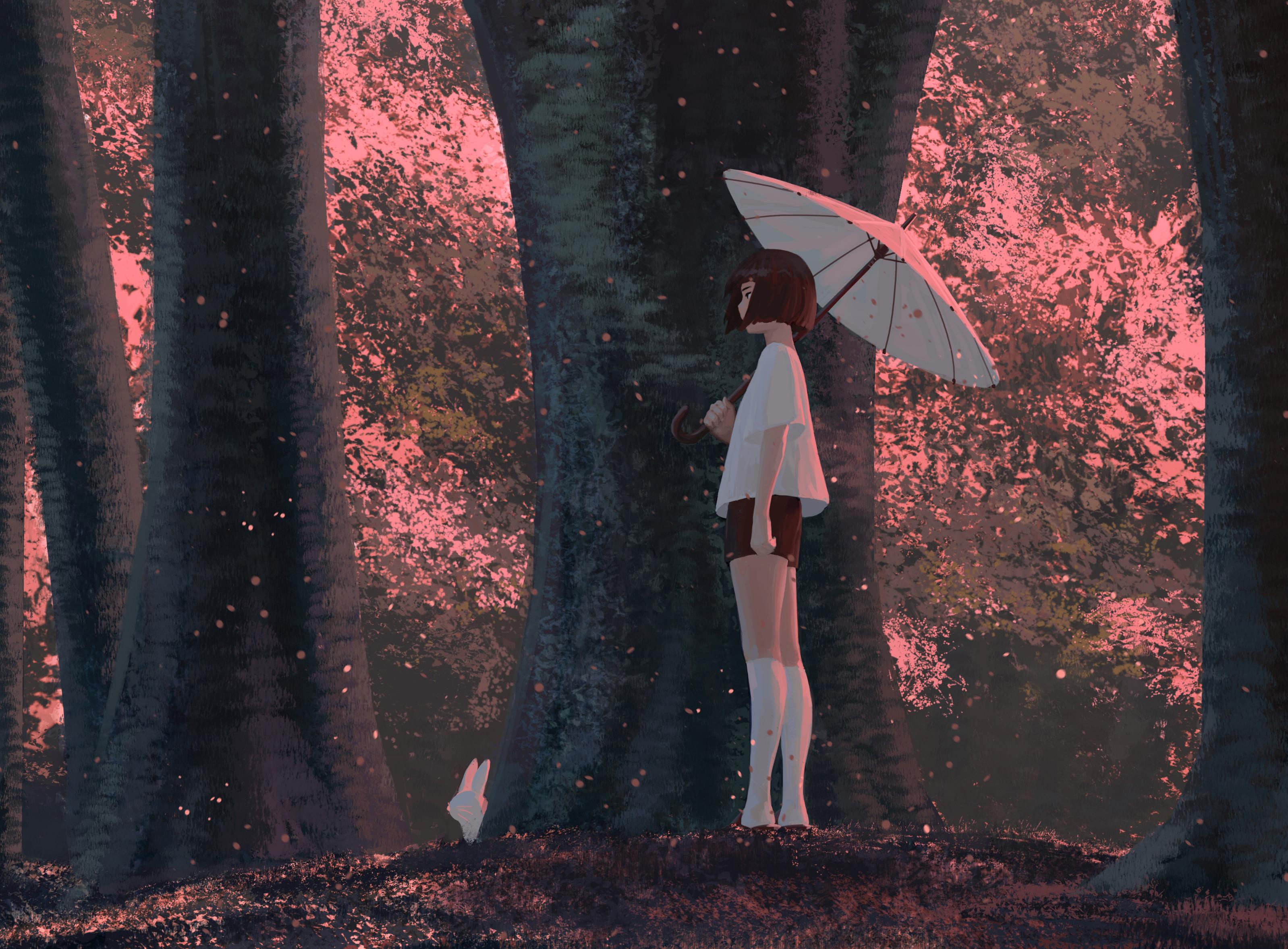 Anime 3197x2355 anime girls original characters anime women brunette short hair profile looking away umbrella forest trees rabbits T-shirt short shorts socks standing side view artwork drawing digital art illustration GUWEIZ Z.W. Gu