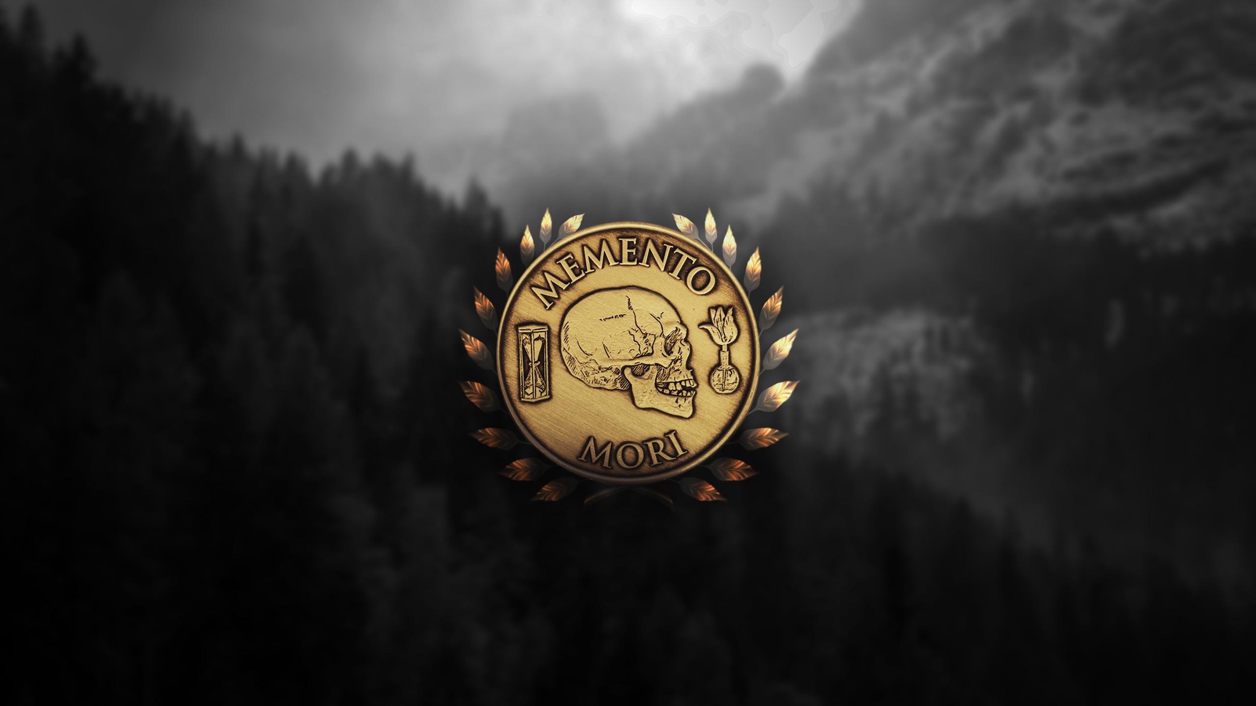 General 2560x1440 Memento Mori coin gold monochrome forest logo