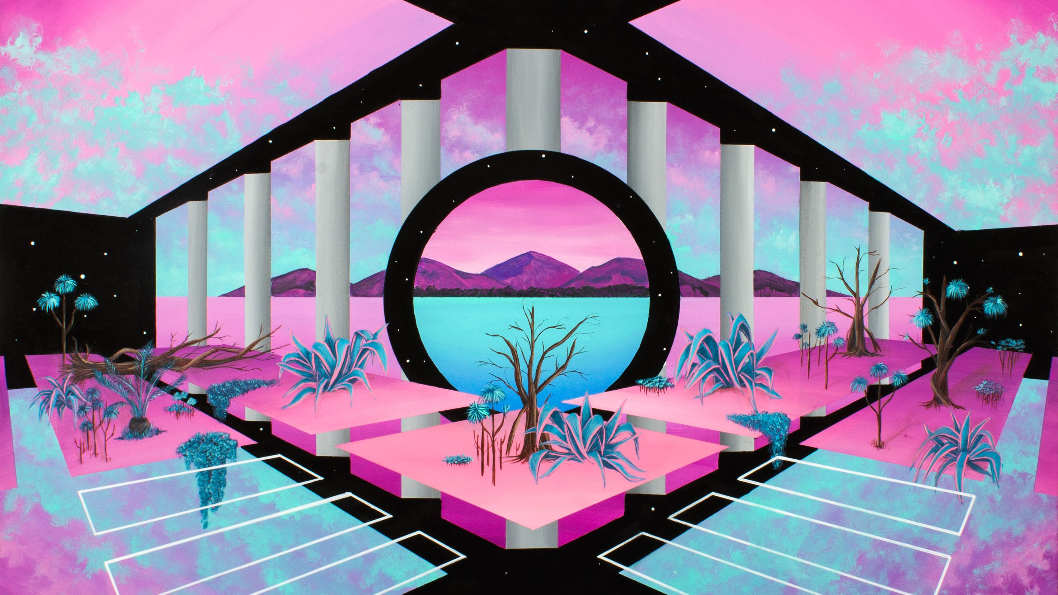 General 3399x1912 retrowave Retrowave vaporwave abstract pink
