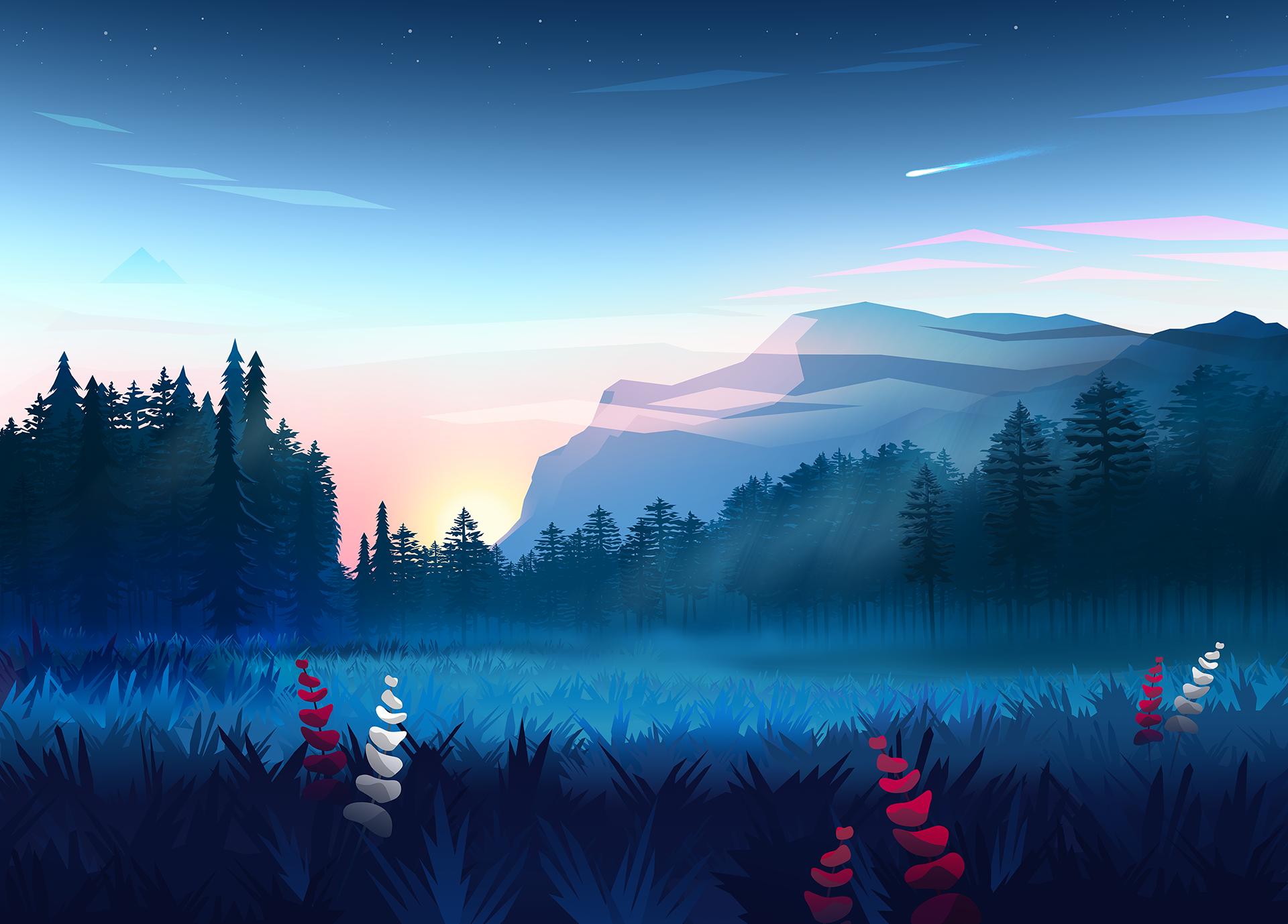 General 1920x1378 nature byrotek  fantasy art colorful trees wood mountains forest digital art sunset blue