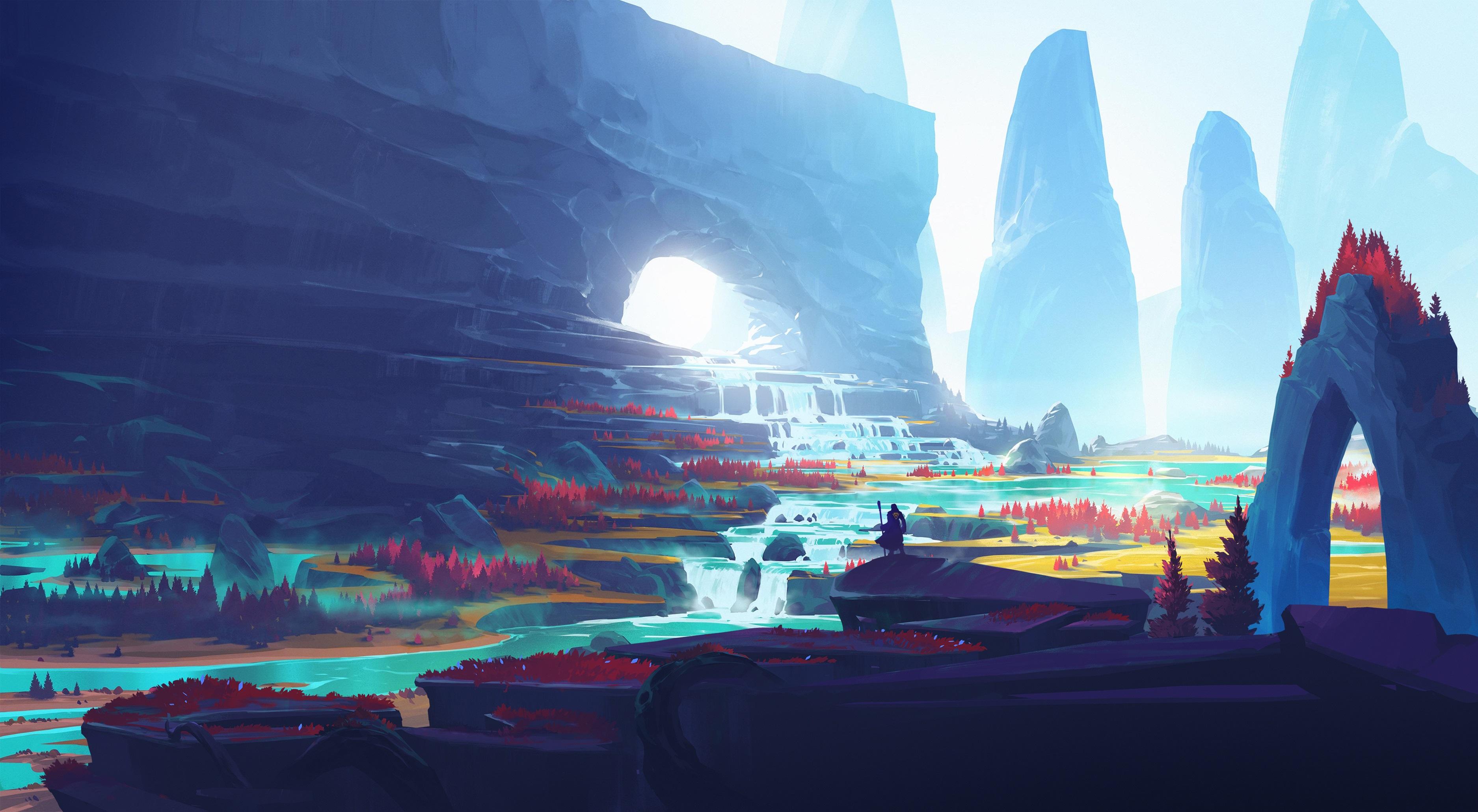 General 3750x2063 digital art landscape mountains Duelyst video games illustration artwork