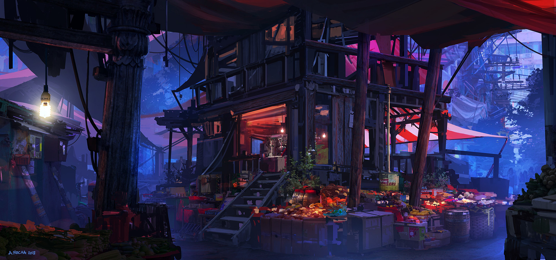 General 1920x899 Andreas Rocha artwork digital Market concept art