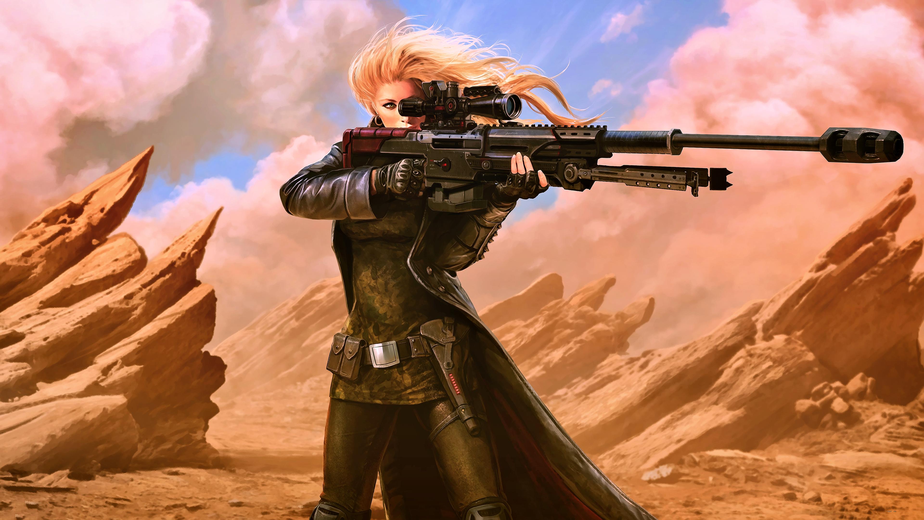 General 3840x2160 artwork science fiction digital art concept art fantasy art futuristic girls with guns sniper rifle