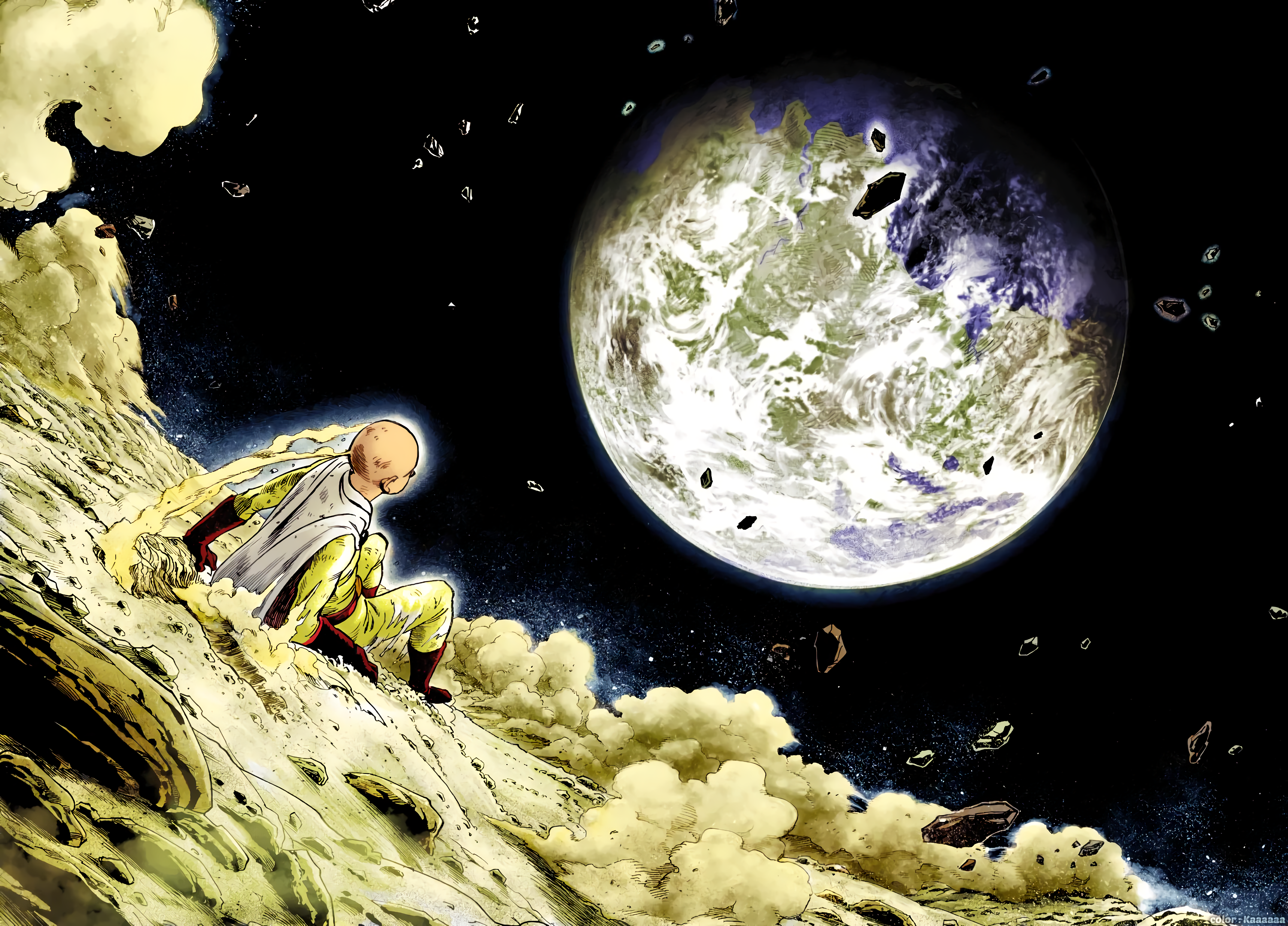 Anime 3440x2472 anime anime boys white skin One-Punch Man fan art Saitama superhero dark background night space planet