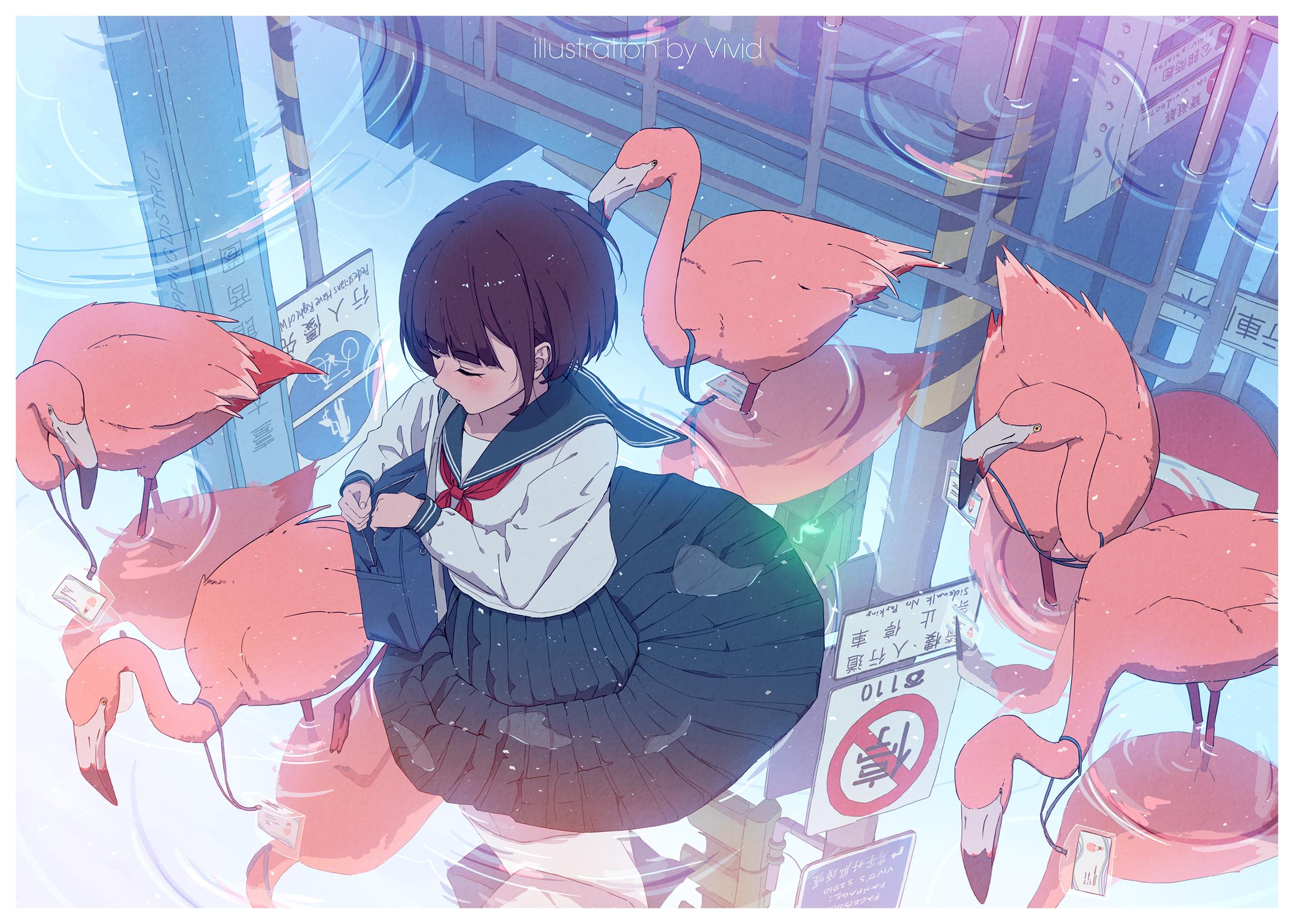 Anime 2300x1643 anime anime girls original characters short hair dark hair school uniform sailor uniform water reflection flamingos