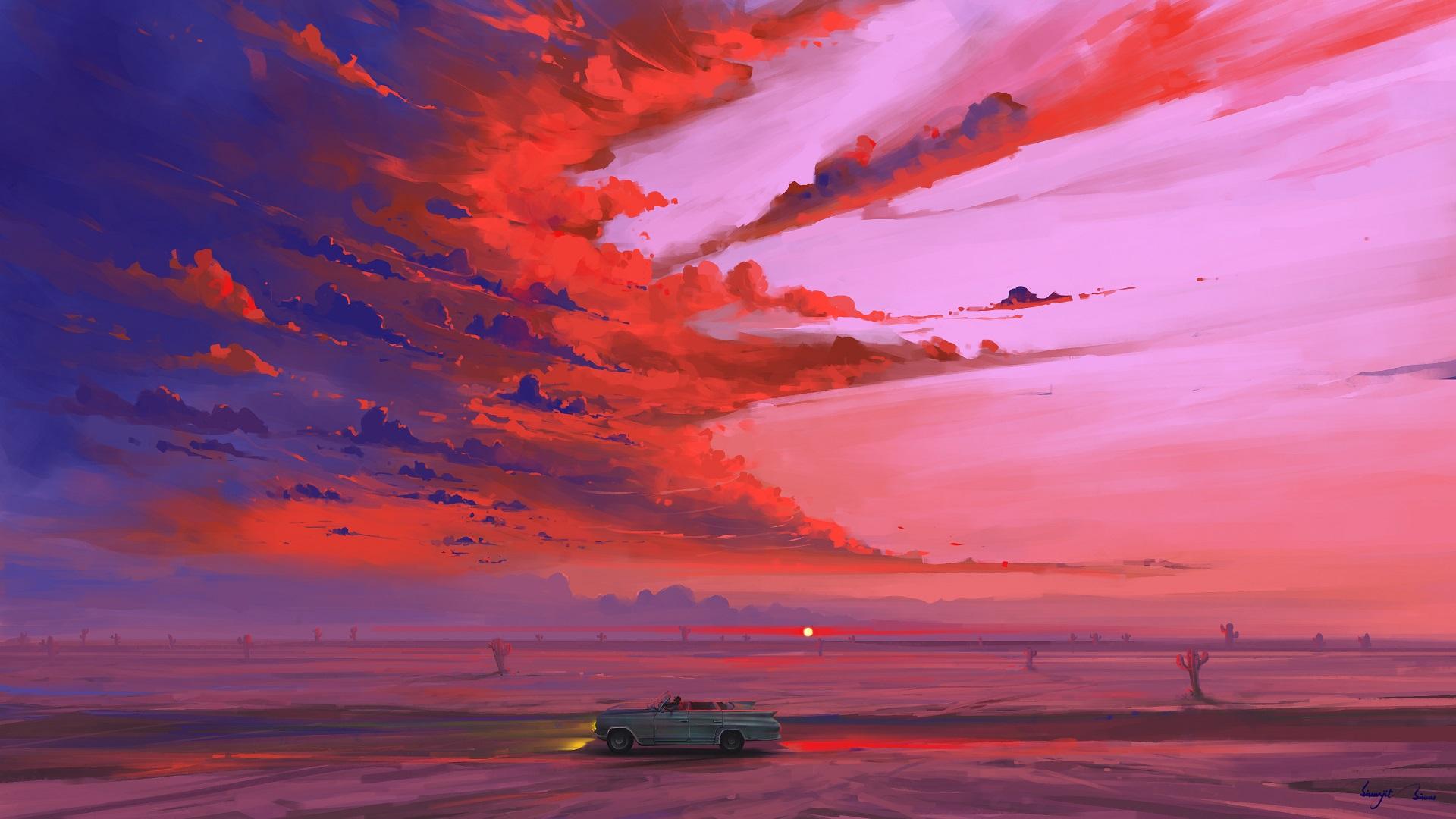 General 1920x1080 sunrise desert car road cactus digital art clouds BisBiswas