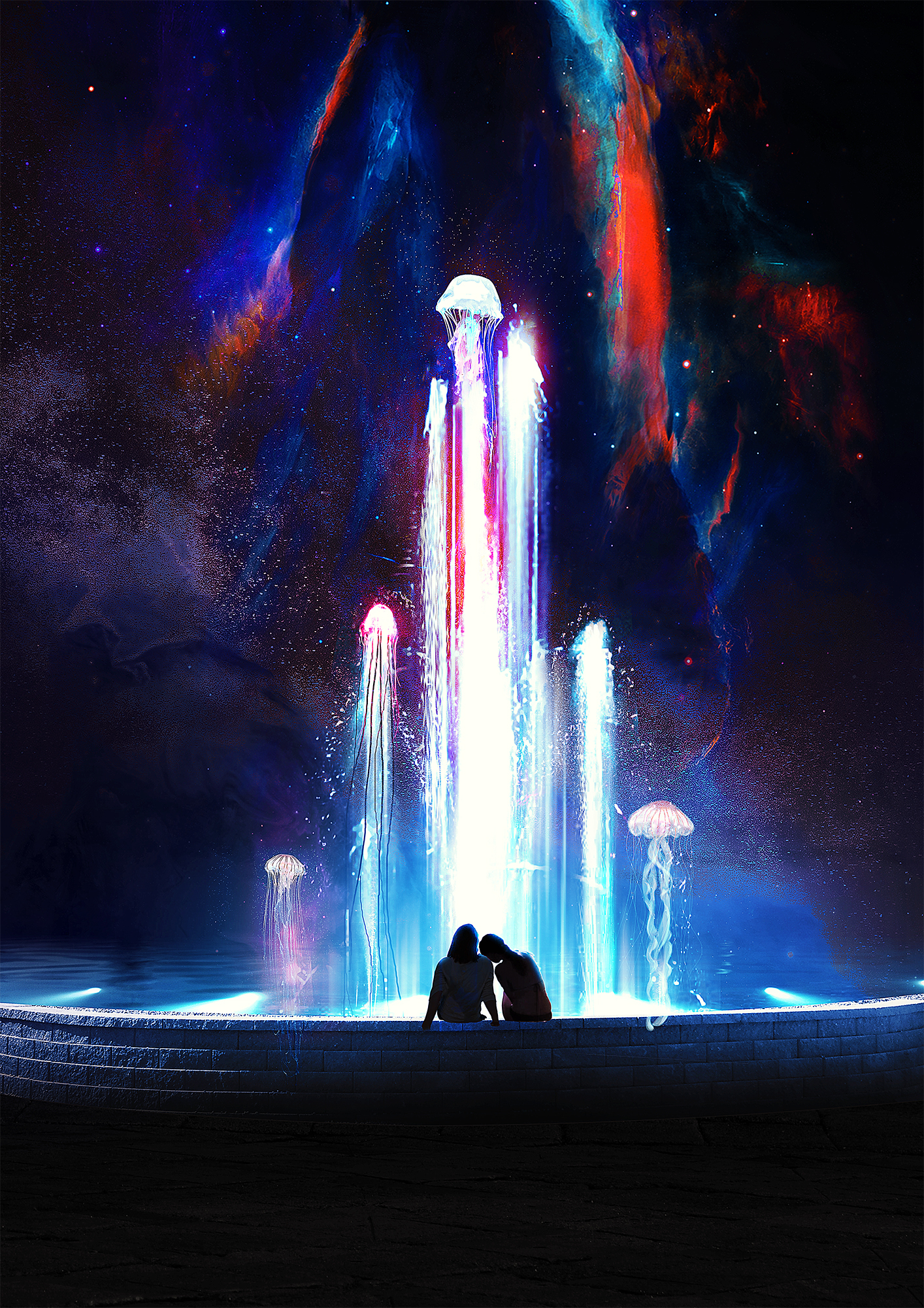 General 1414x2000 t1na stars fountain women space jellyfish digital art