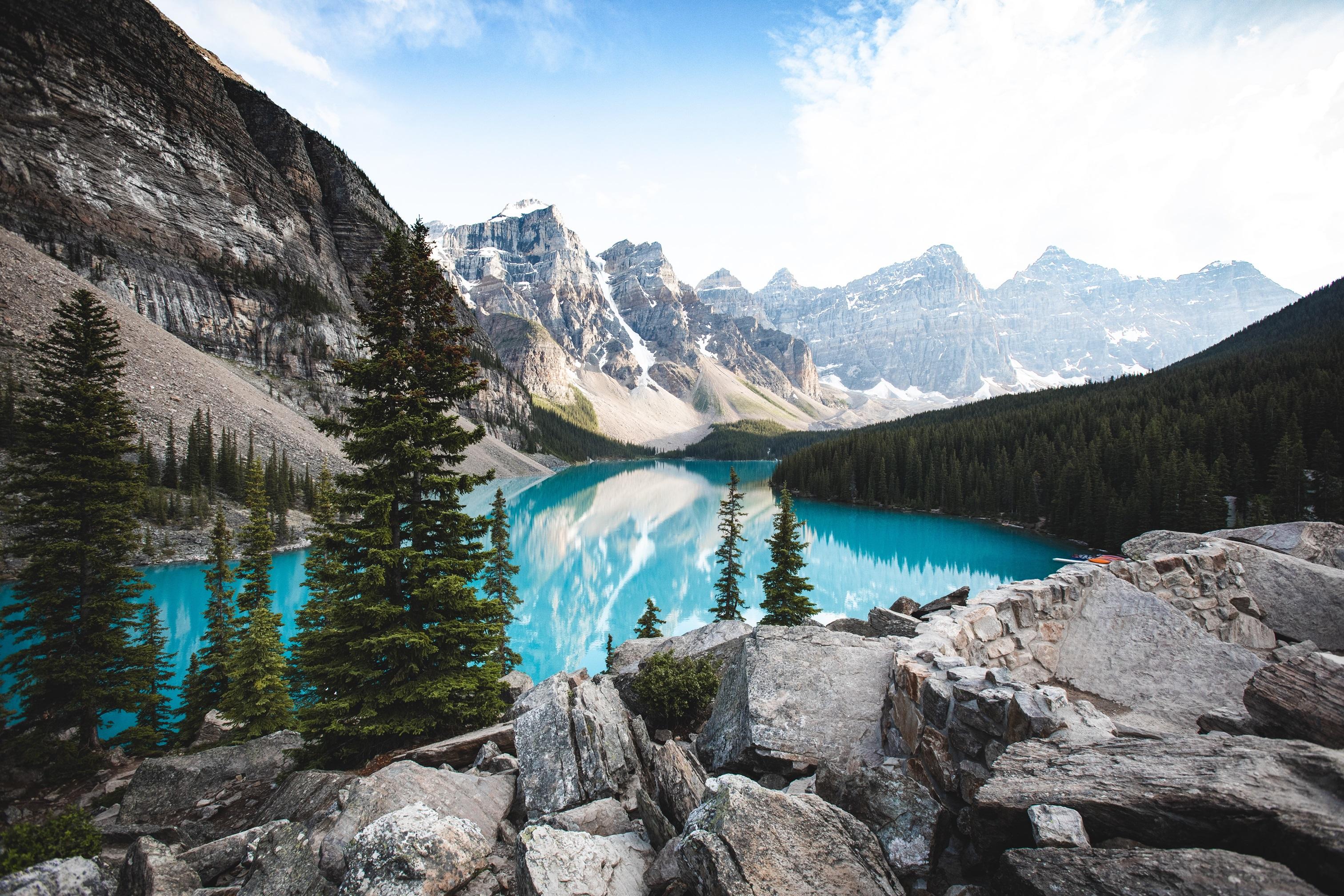 General 3024x2016 landscape nature photography water mountains rock lake Banff Banff National Park Moraine Lake