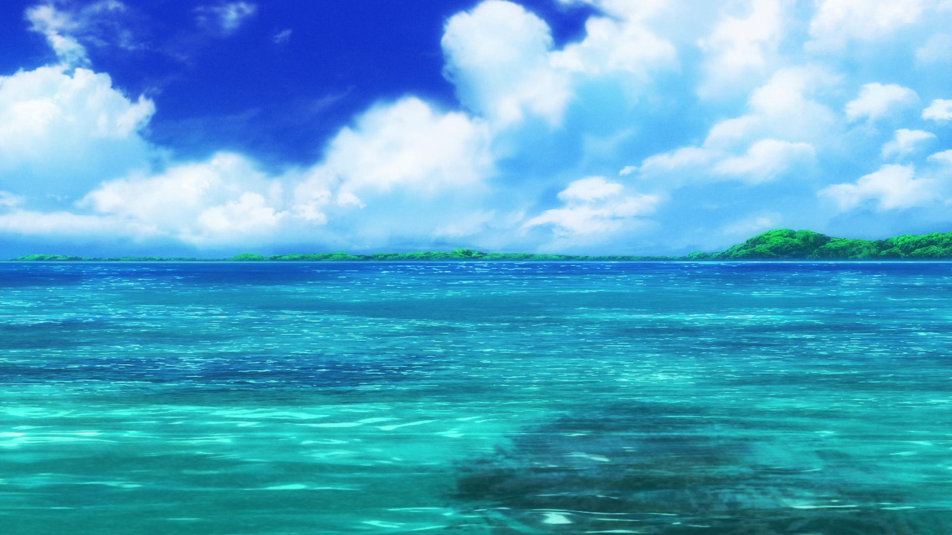 Anime 1920x1080 Non Non Biyori nature sea anime water artwork blue clouds turquoise
