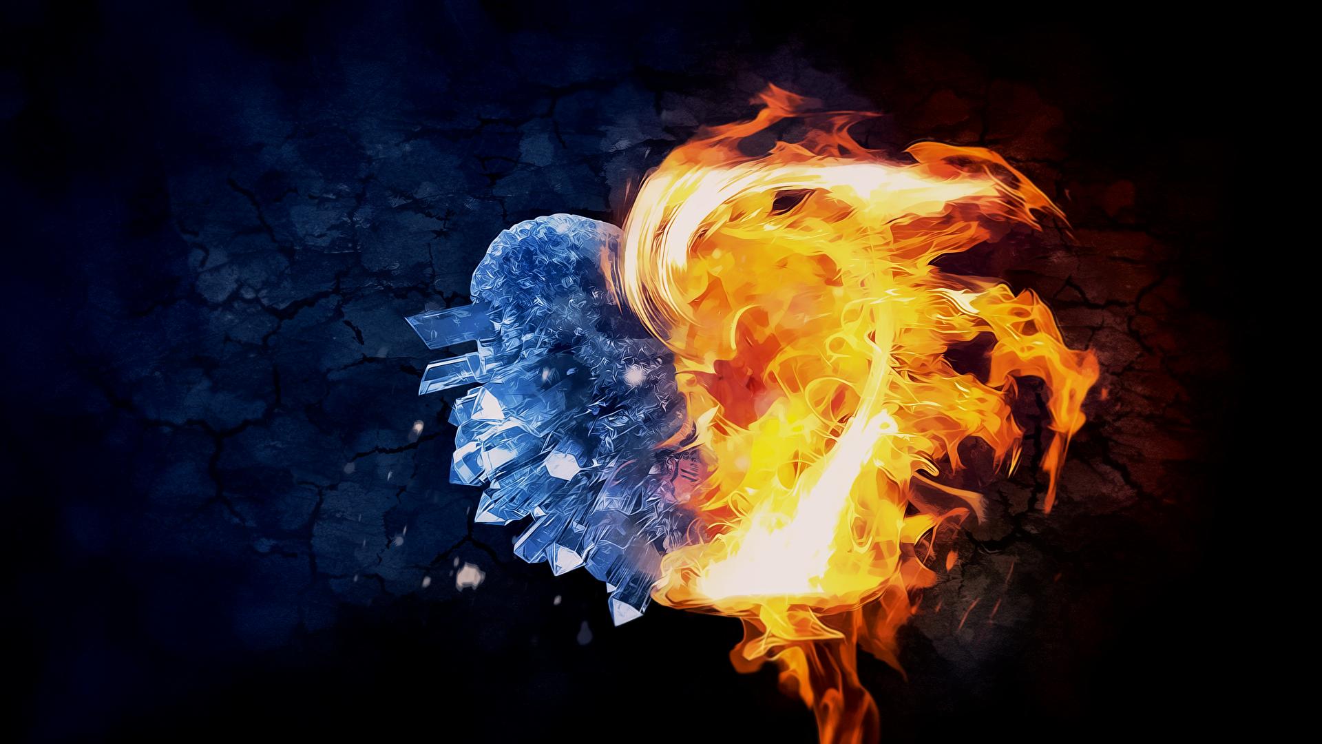 General 1920x1080 CG digital art digital abstract 3D Abstract love heart fire ice romance