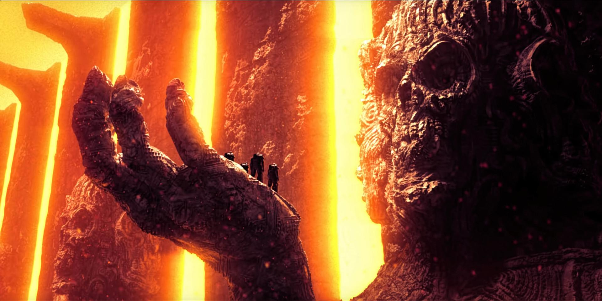 General 1920x960 Warhammer 40,000 Adeptus Astartes fantasy art lava sculpture Space Marine vivid colors yu'vath