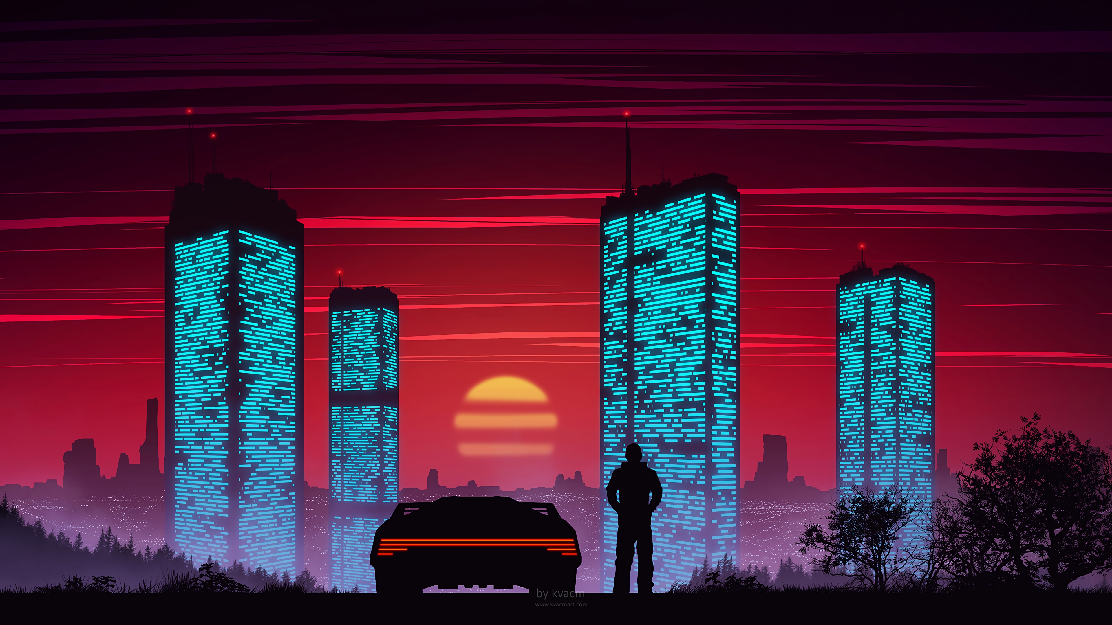General 3840x2160 digital digital art artwork digital painting dusk evening sunset car vehicle silhouette city sky urban cityscape lights city lights architecture building modern tower skyscraper vector art vector graphics cyberpunk futuristic futuristic city red