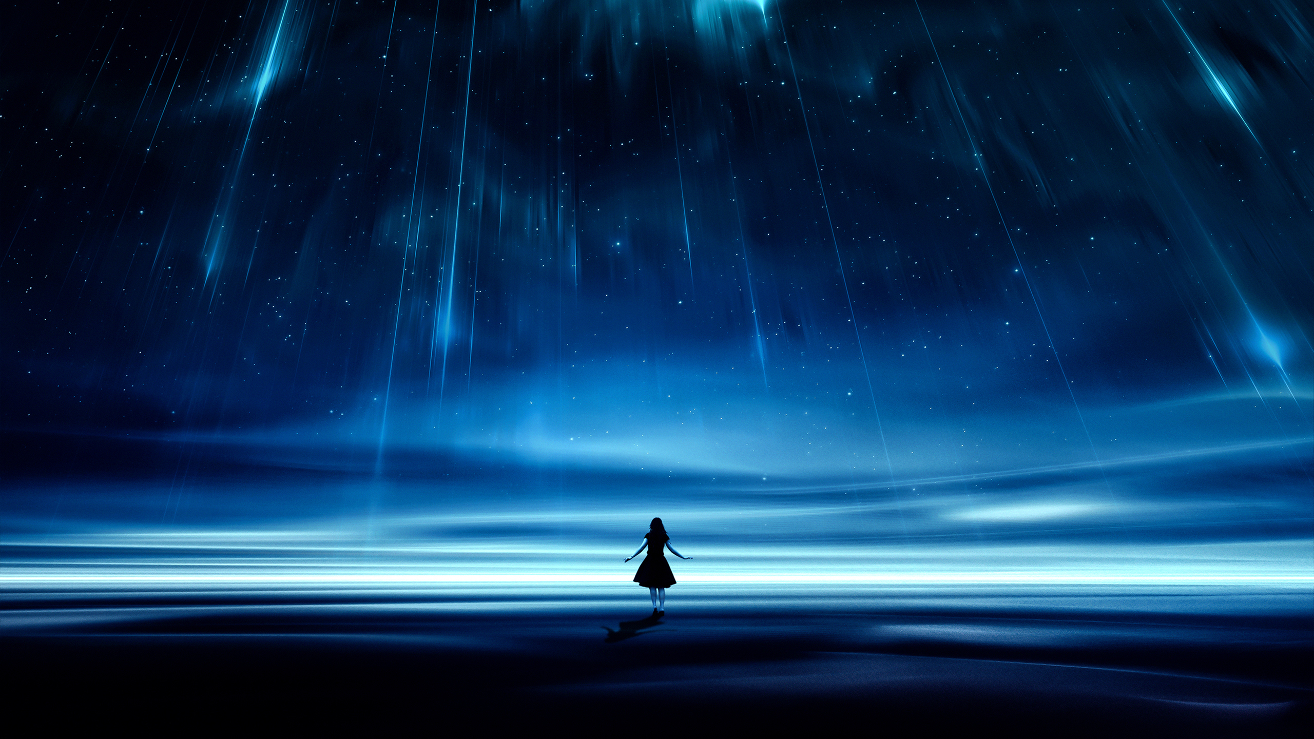 General 2560x1440 digital digital art photography Photoshop photo manipulation landscape night sky skyscape starry night blue dark lights women outdoors women outdoors stars shooting stars space galaxy silhouette fantasy art dreamscape magic